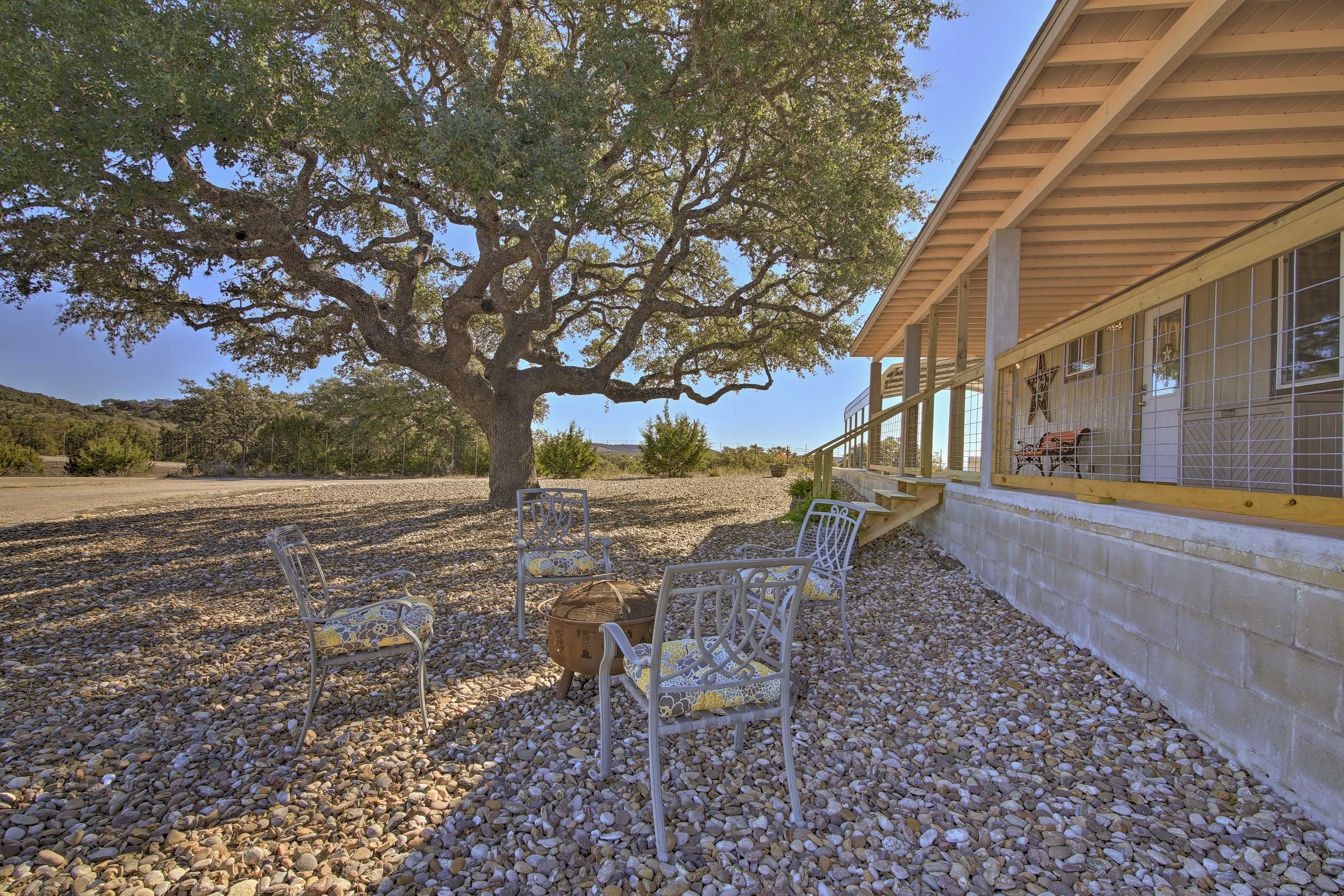 Sit around the fire pit and watch the sunset over the Texas plains!