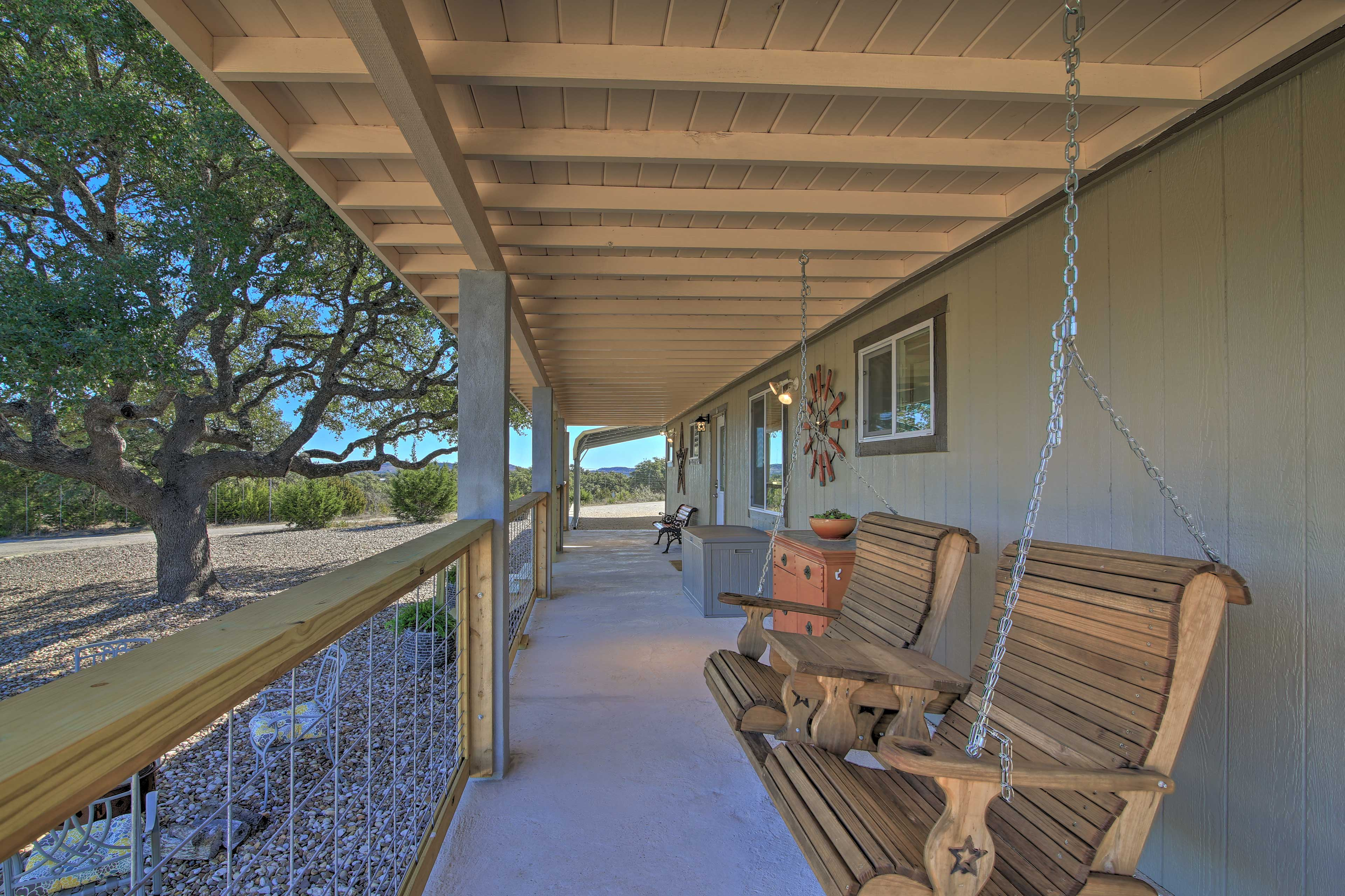 Sit on the covered front porch and tell stories on the porch swing.