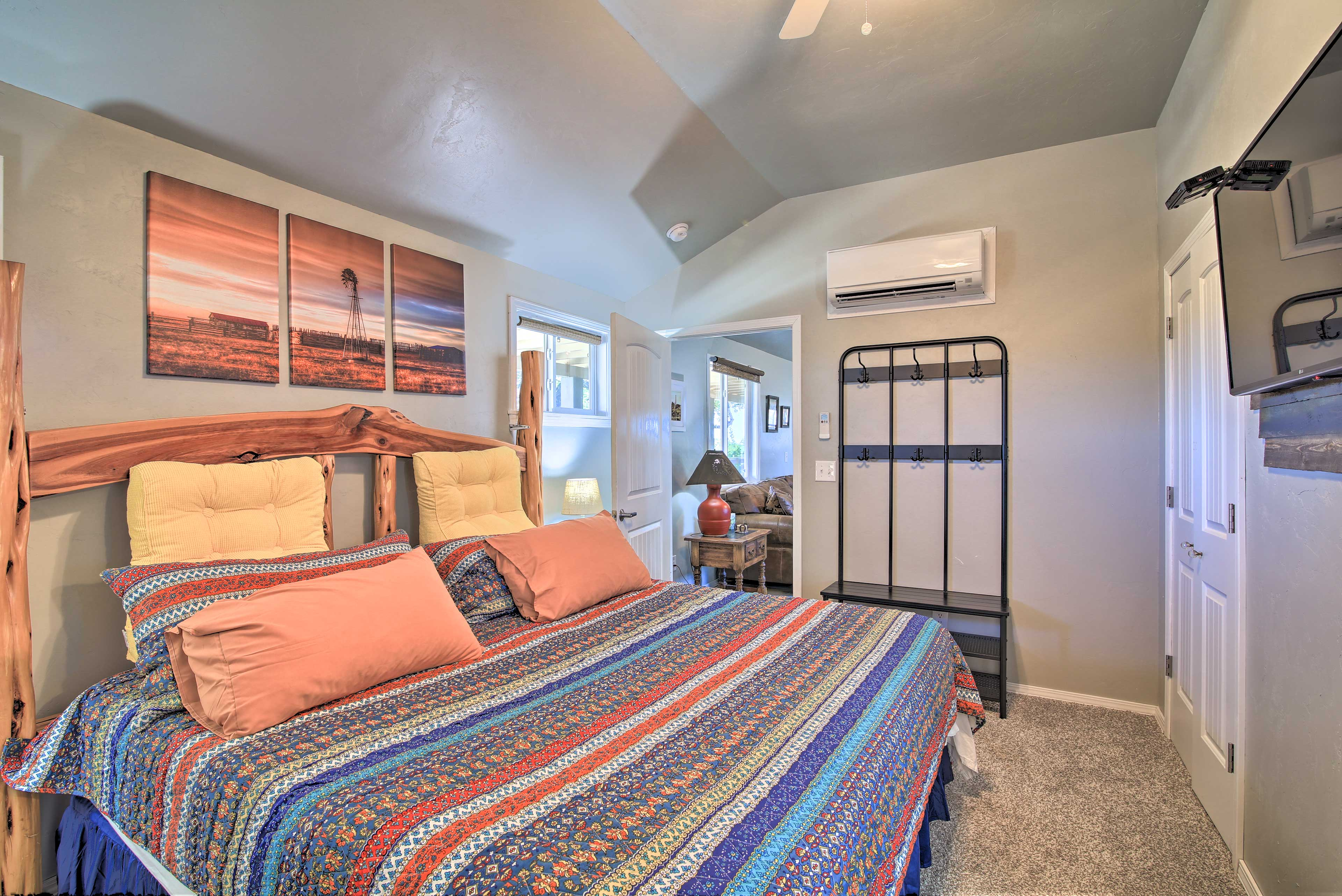 Stay cool in the Texas heat with the wall A/C units in each room.