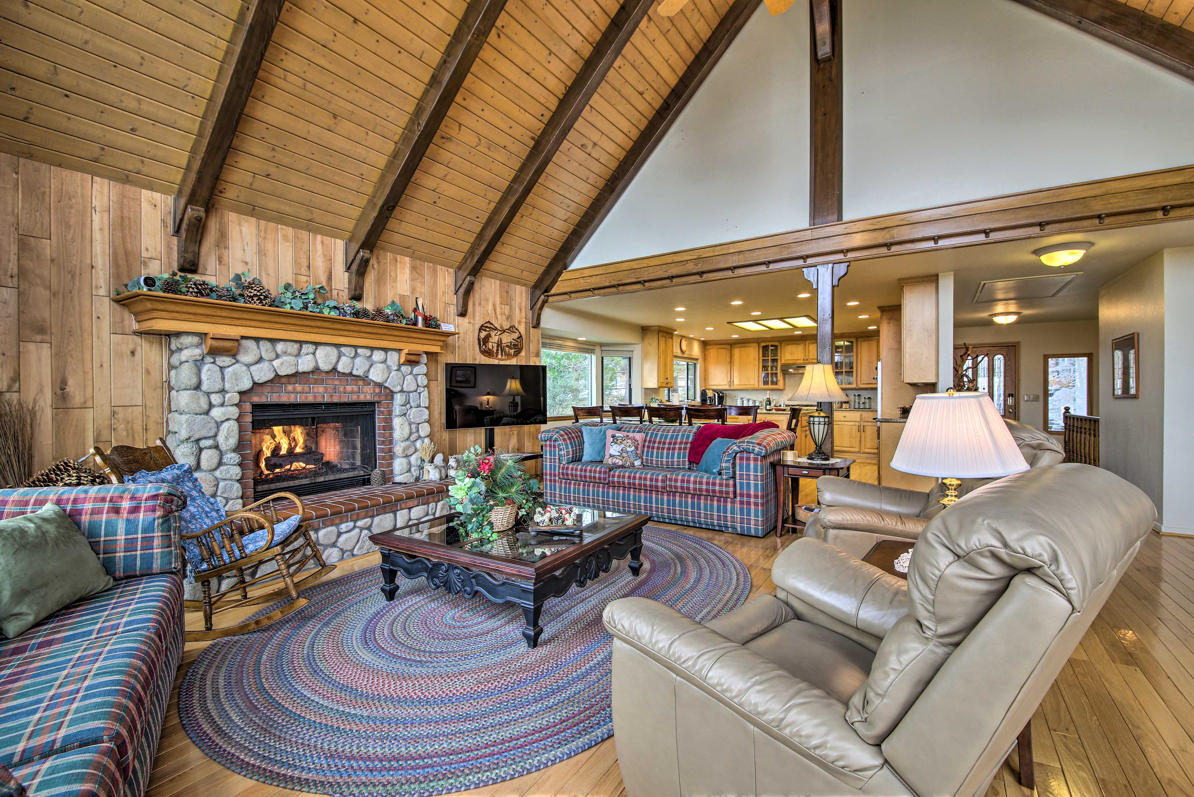 This Lake Arrowhead home features 6 bedrooms, 6 full, and 2 half baths.