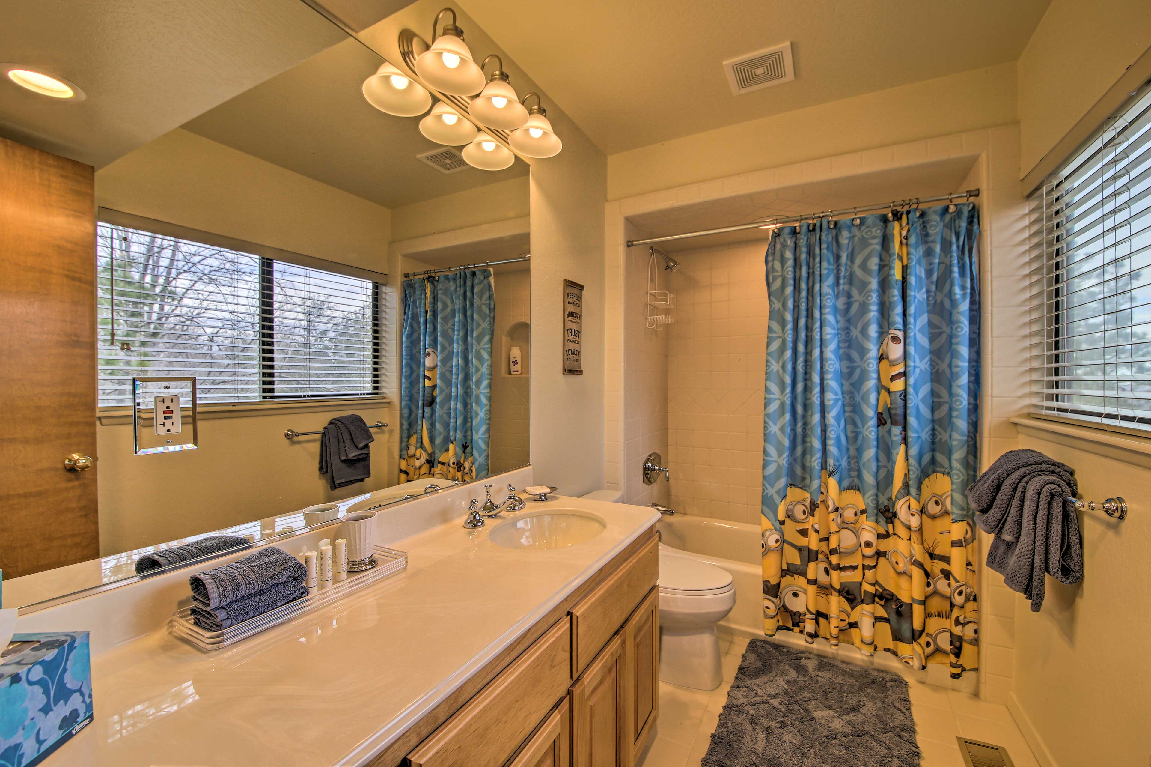 Get ready in this bathroom before heading out for the day.