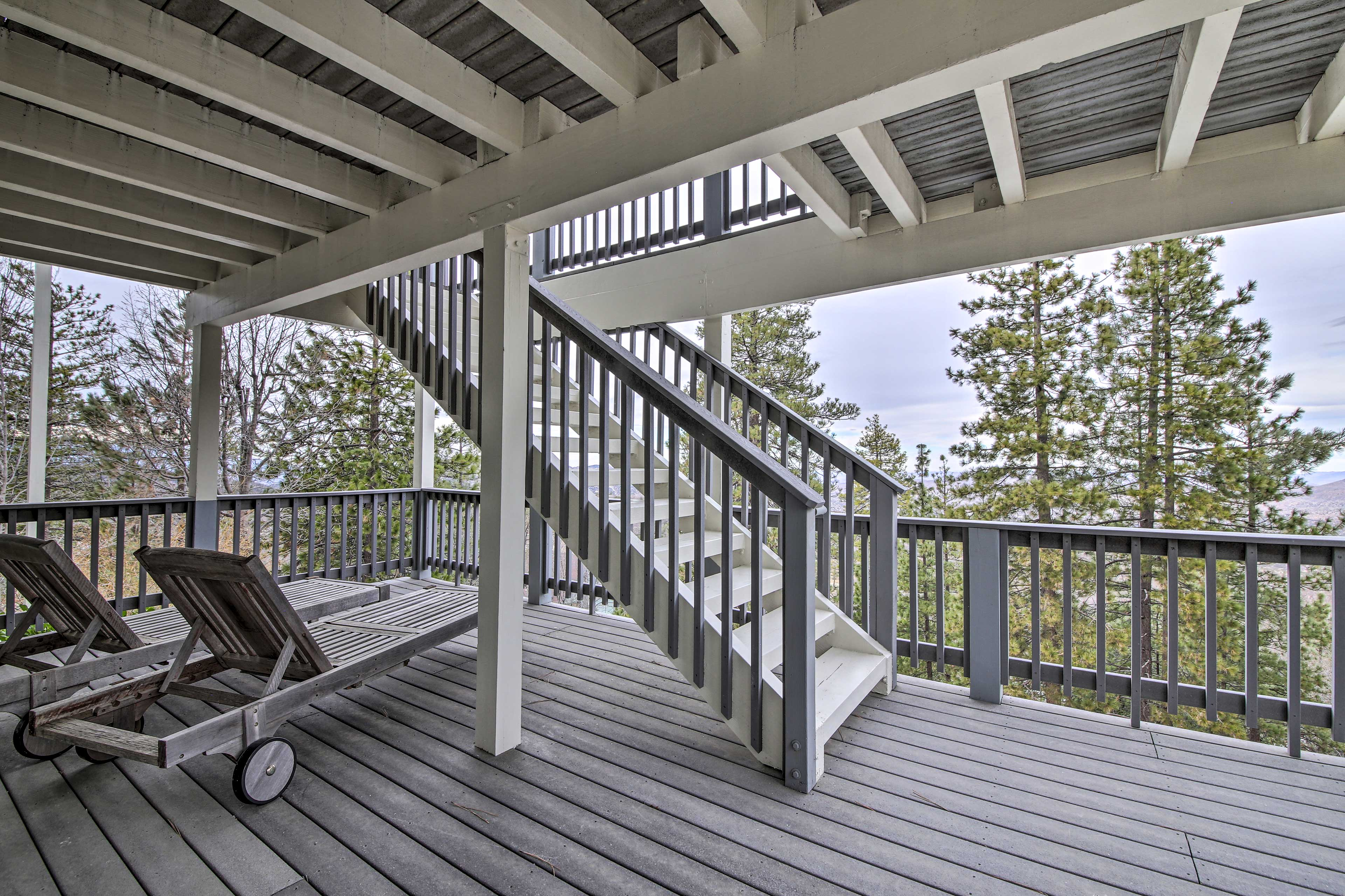 Spend time outside by relaxing on one of the decks.
