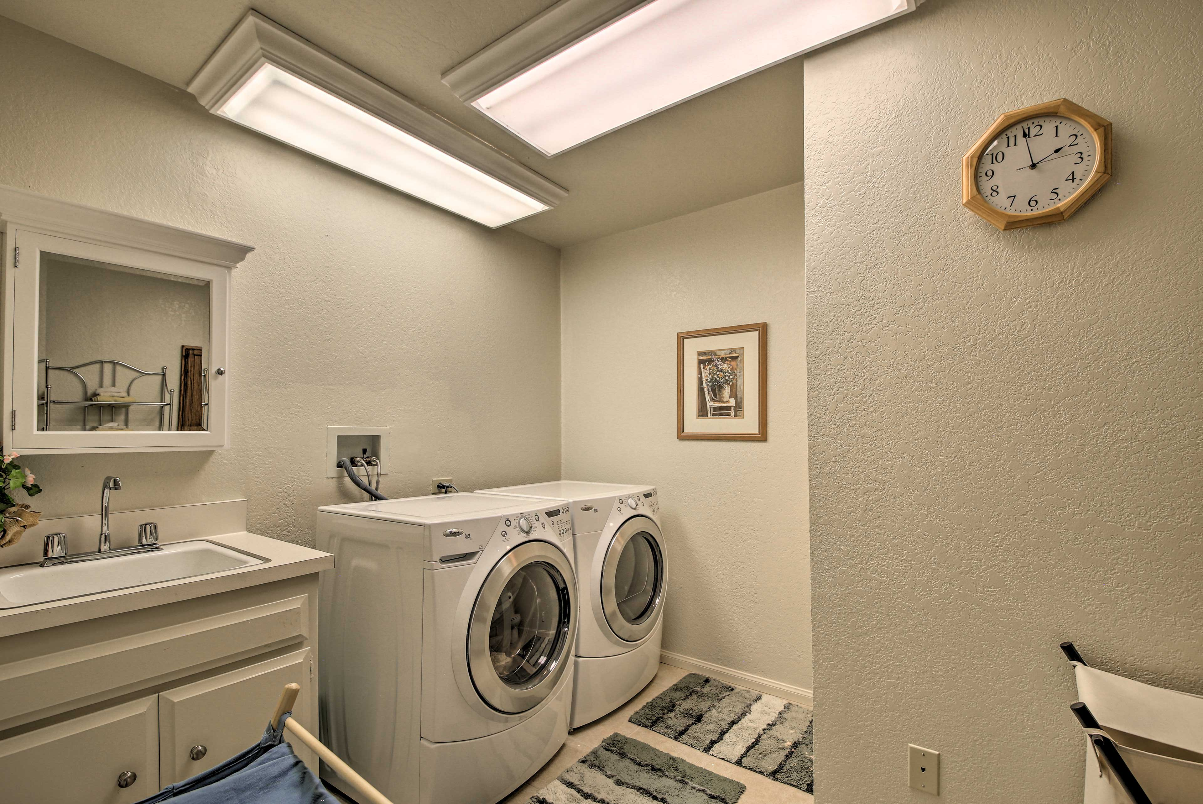 Take care of your clothes by using the washer and dryer.