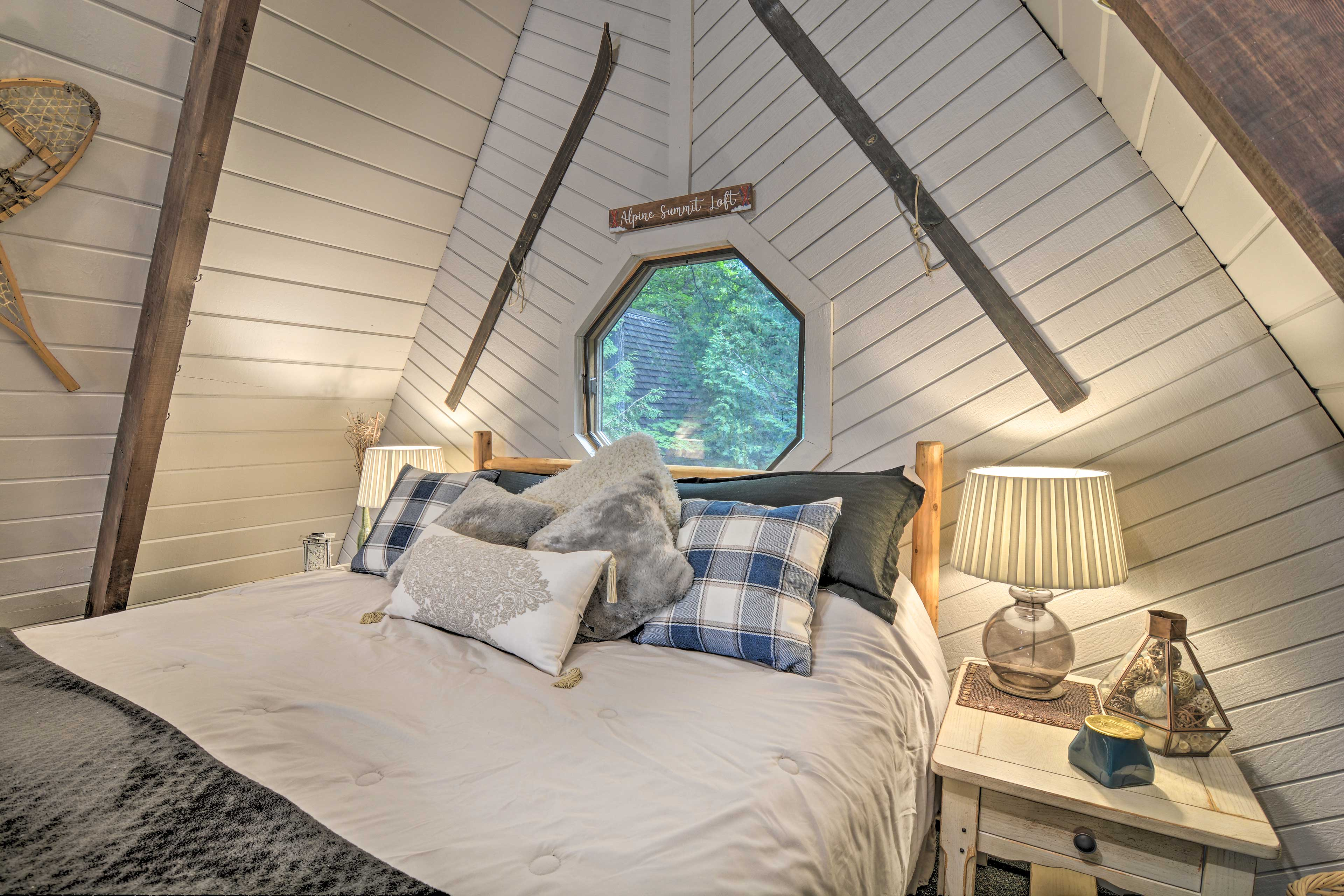 The loft features a king bed and a queen sleeper sofa.