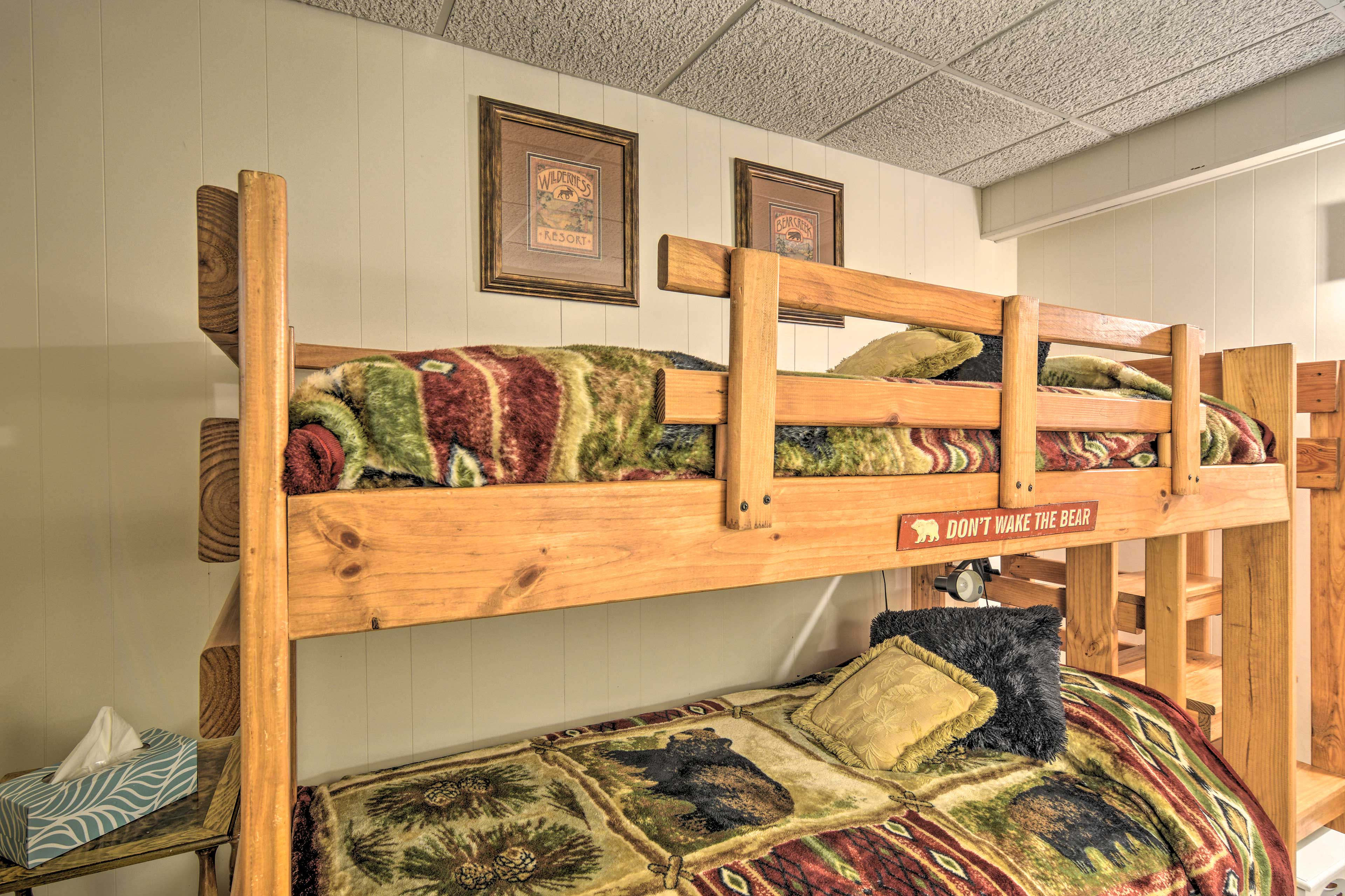 Kids can claim the twin bunk bed.