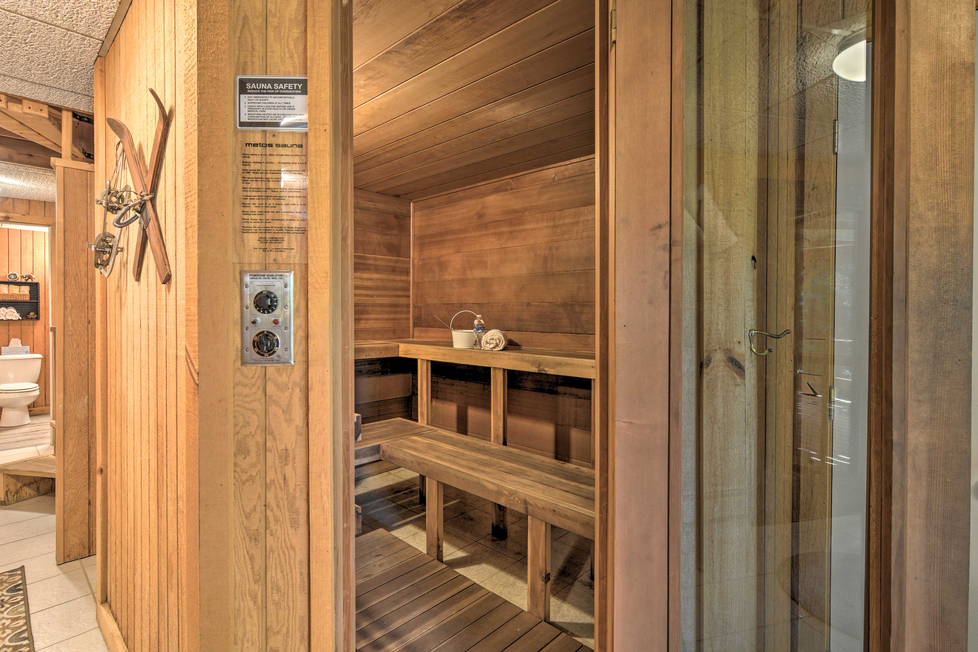 Soothe sore muscles in the sauna.