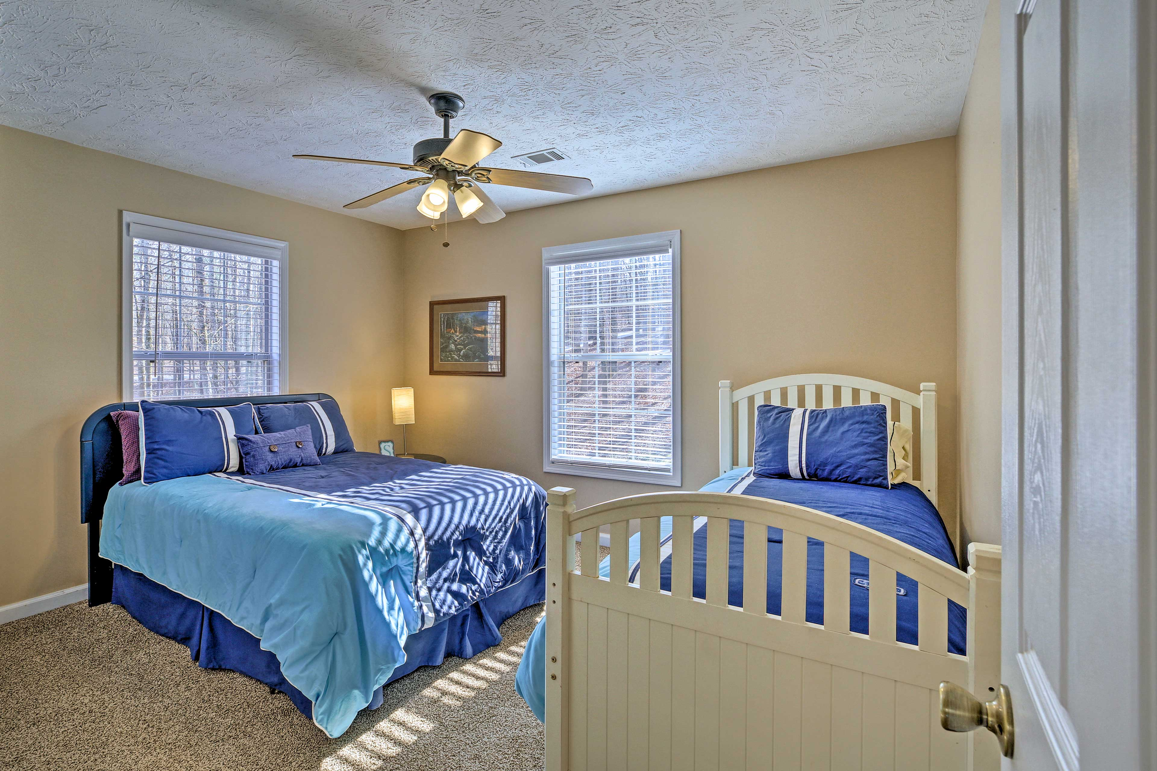 Have the kids sleep in bedroom 2 with the full and twin bed.