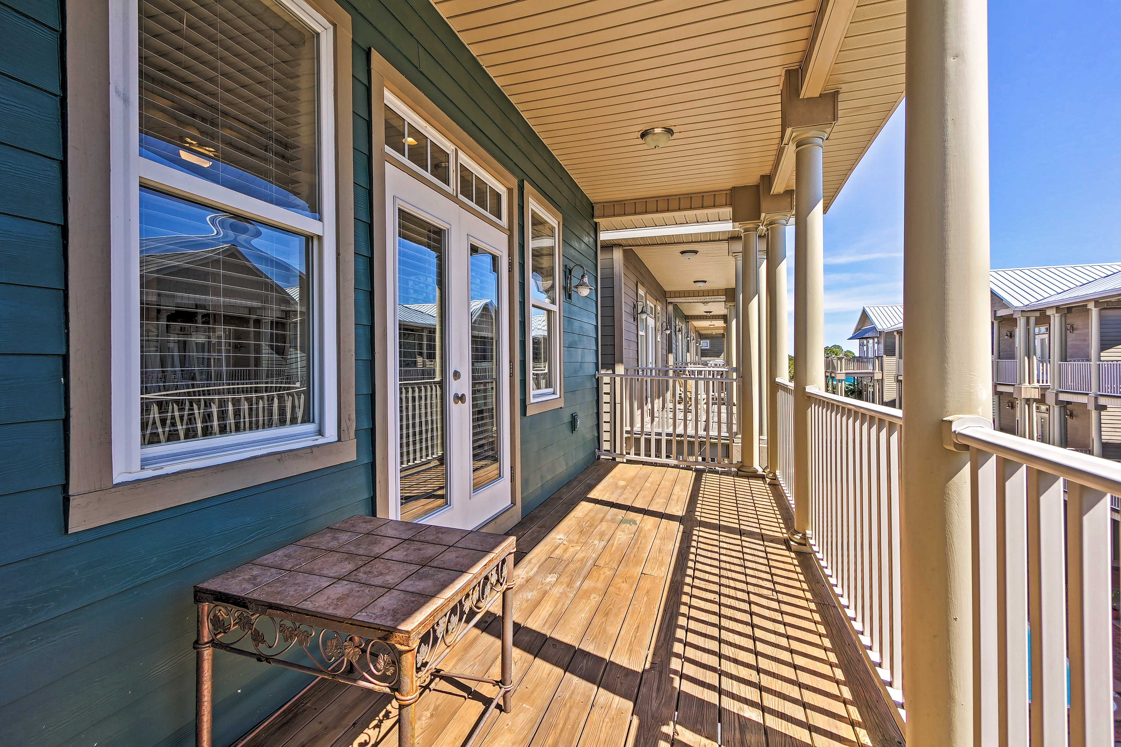 Step out onto the balcony for a cool breeze.