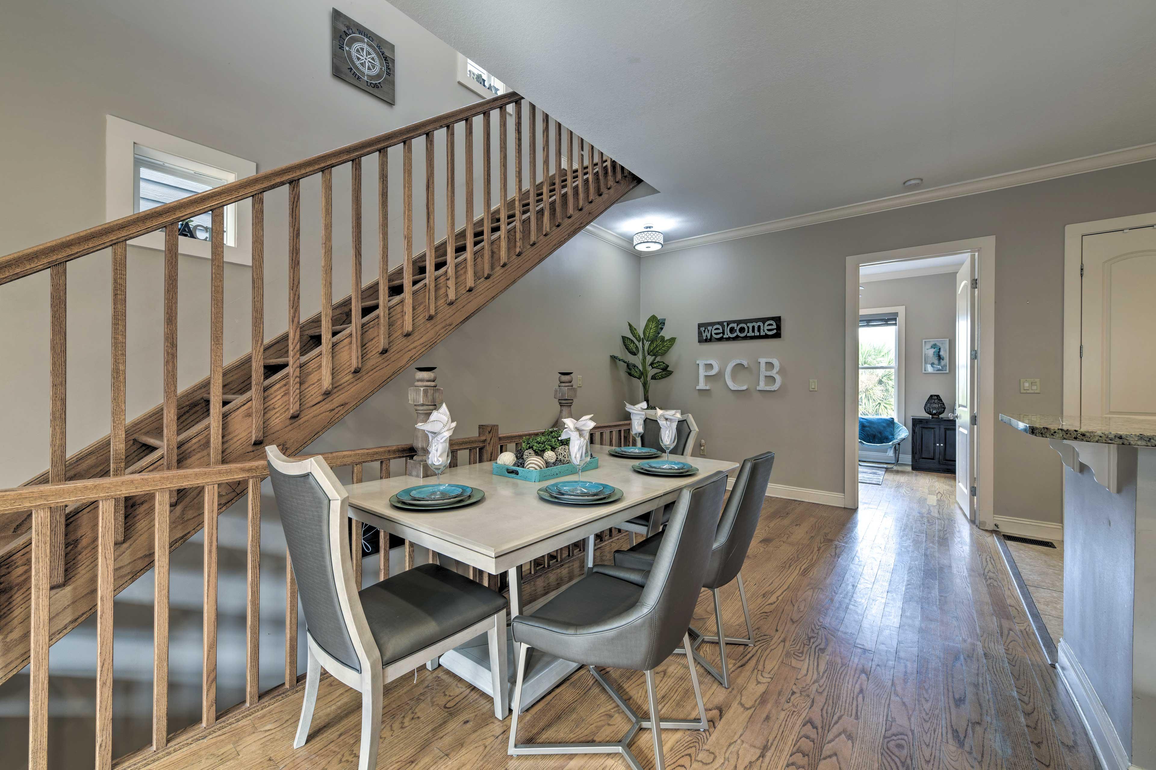 Hardwood floors flow throughout the main level.
