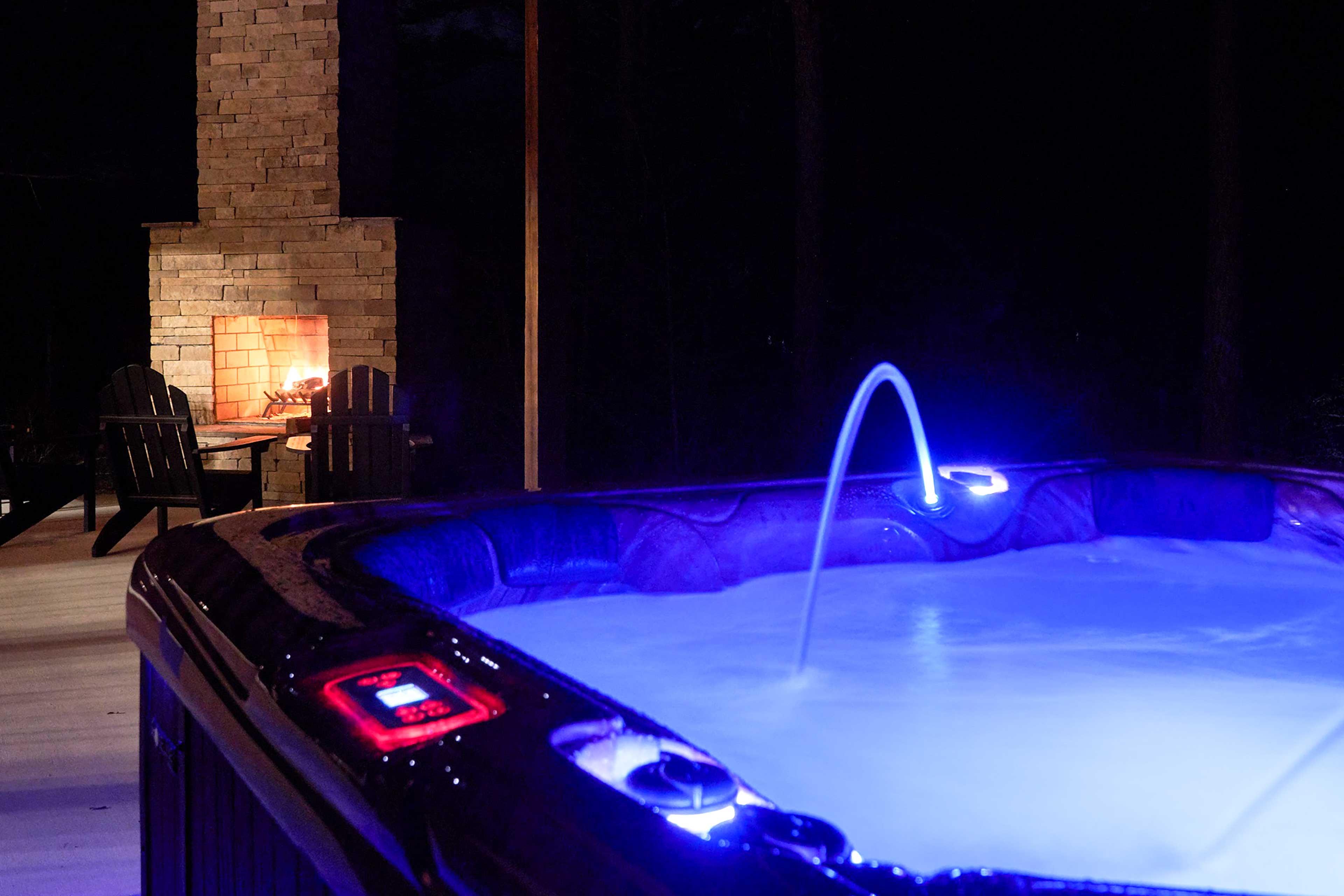 Night Photos | Illuminated Hot Tub & Patio