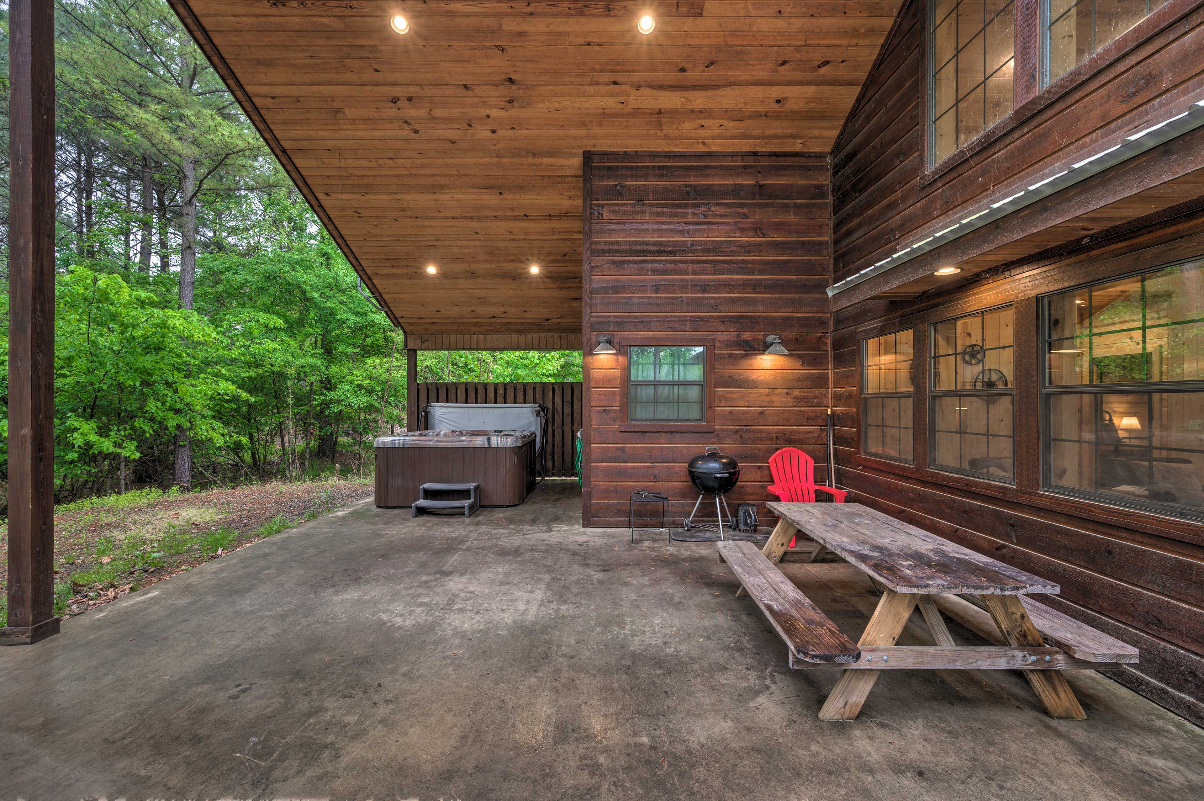 Private Partially Covered Patio | Wood-Burning Fireplace | Private Hot Tub