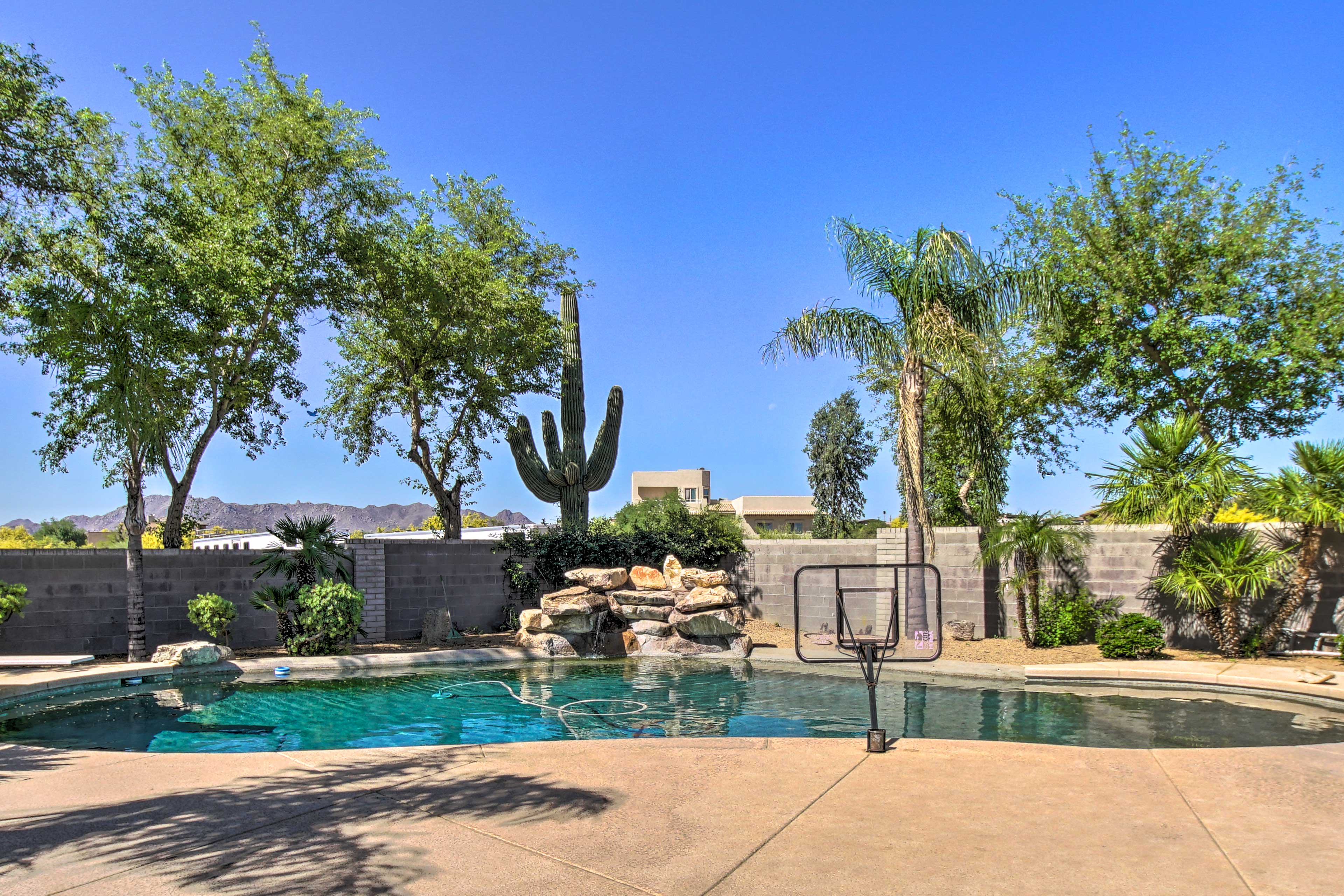 This tropical pool area is the perfect place to soak up the Arizona sun.