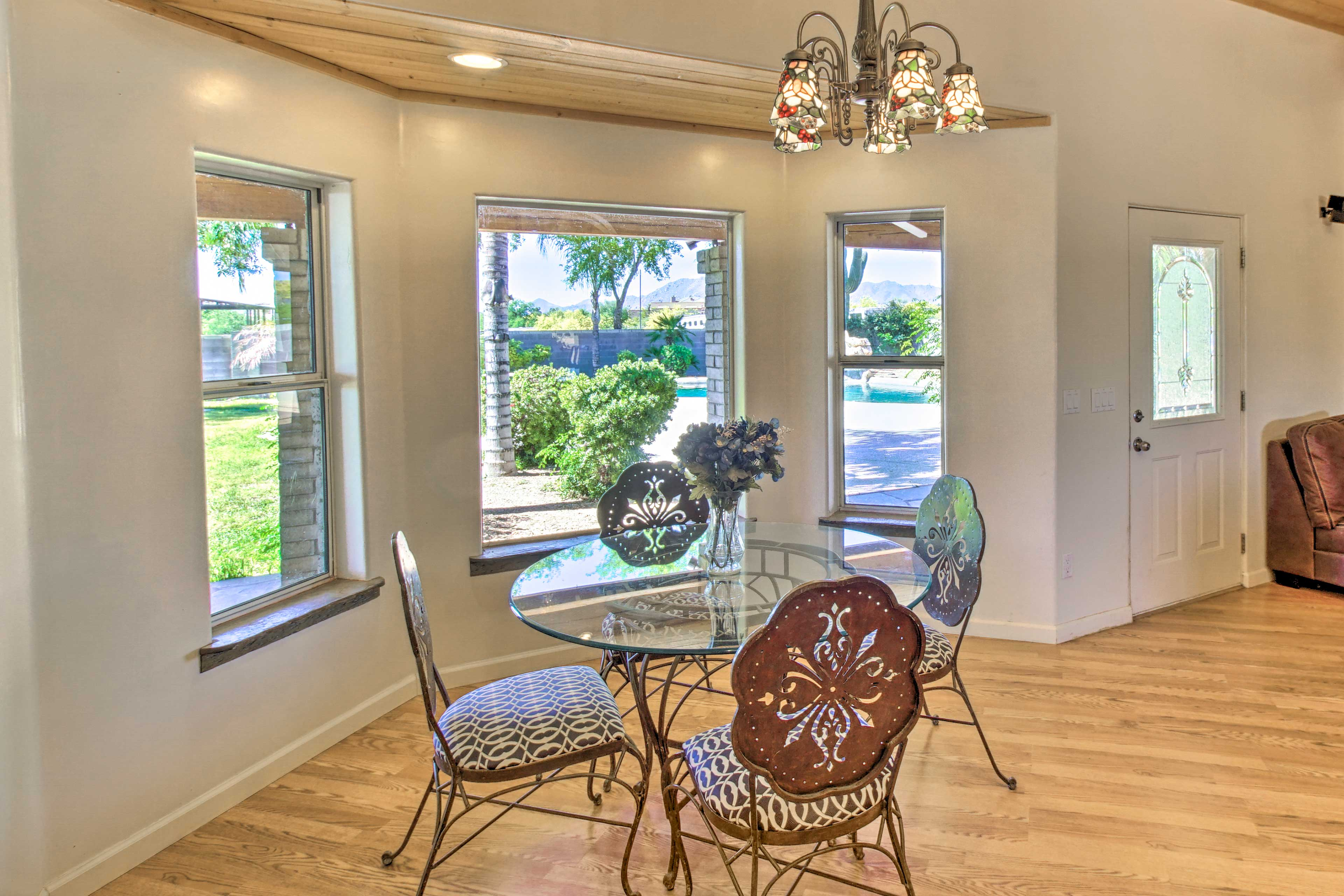 Plenty of natural light reaches this dining space.