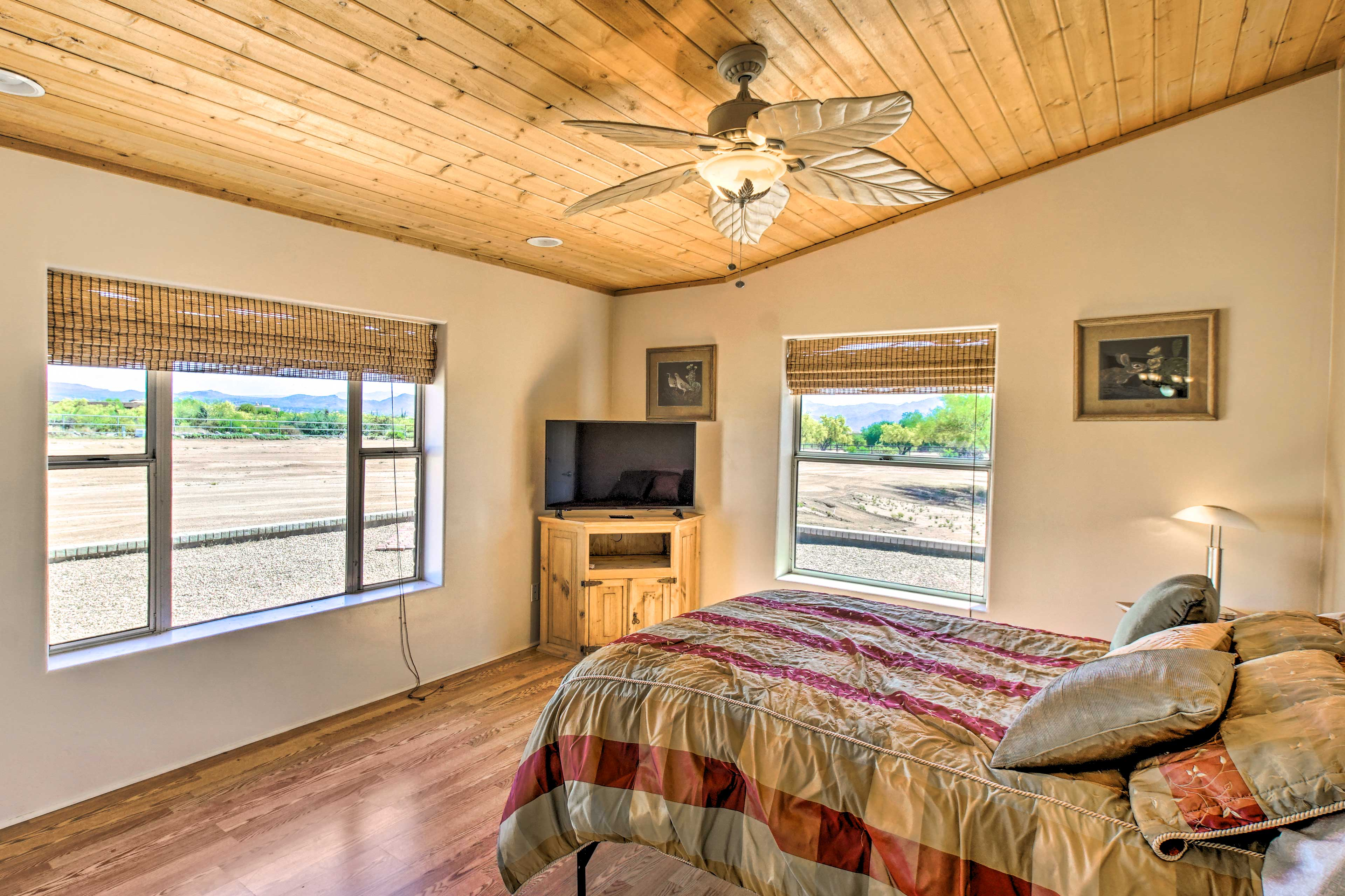 Close the blinds to sleep in or wake up to the mountain views.