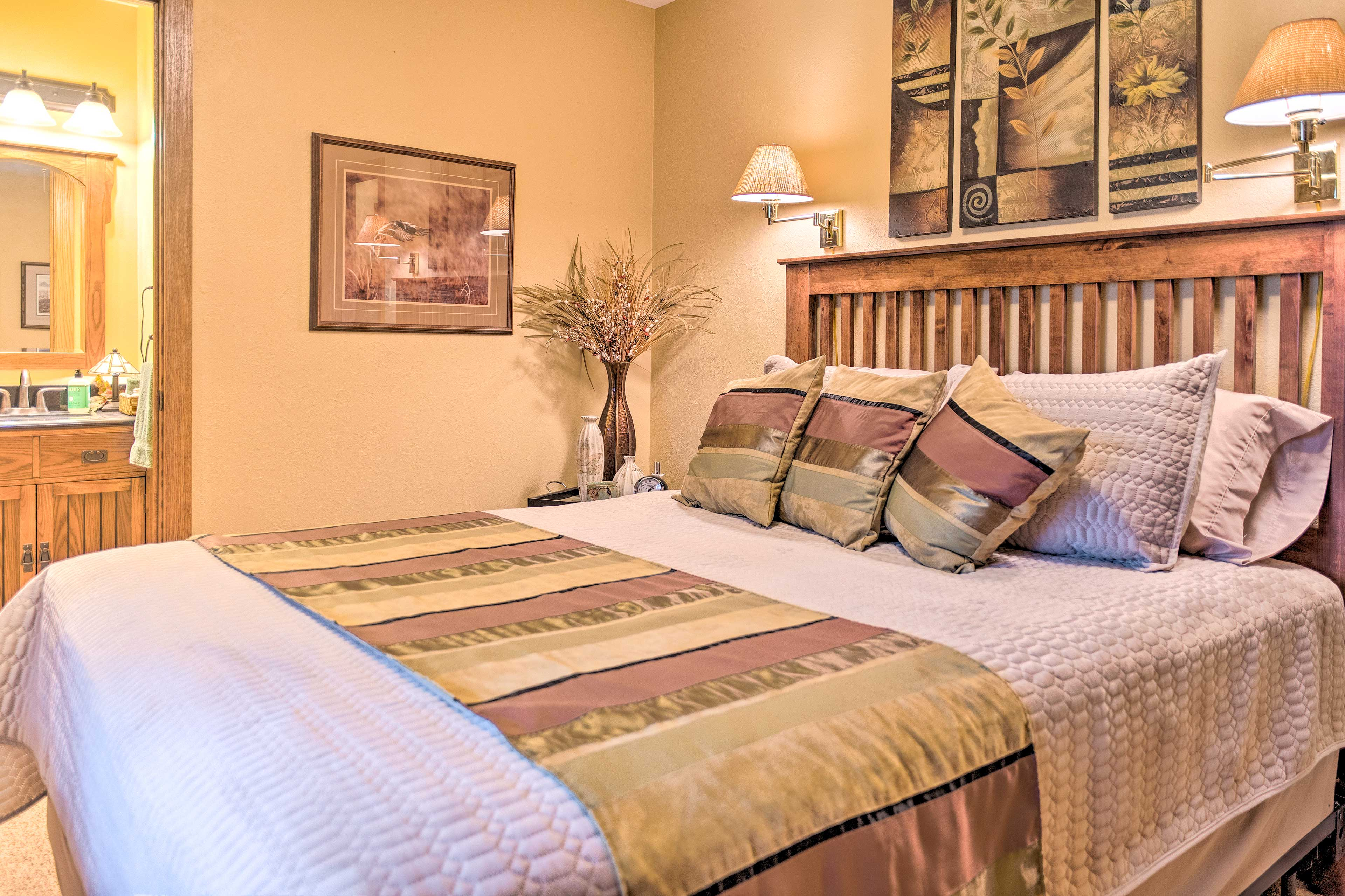 Sleep peacefully in this queen bed.