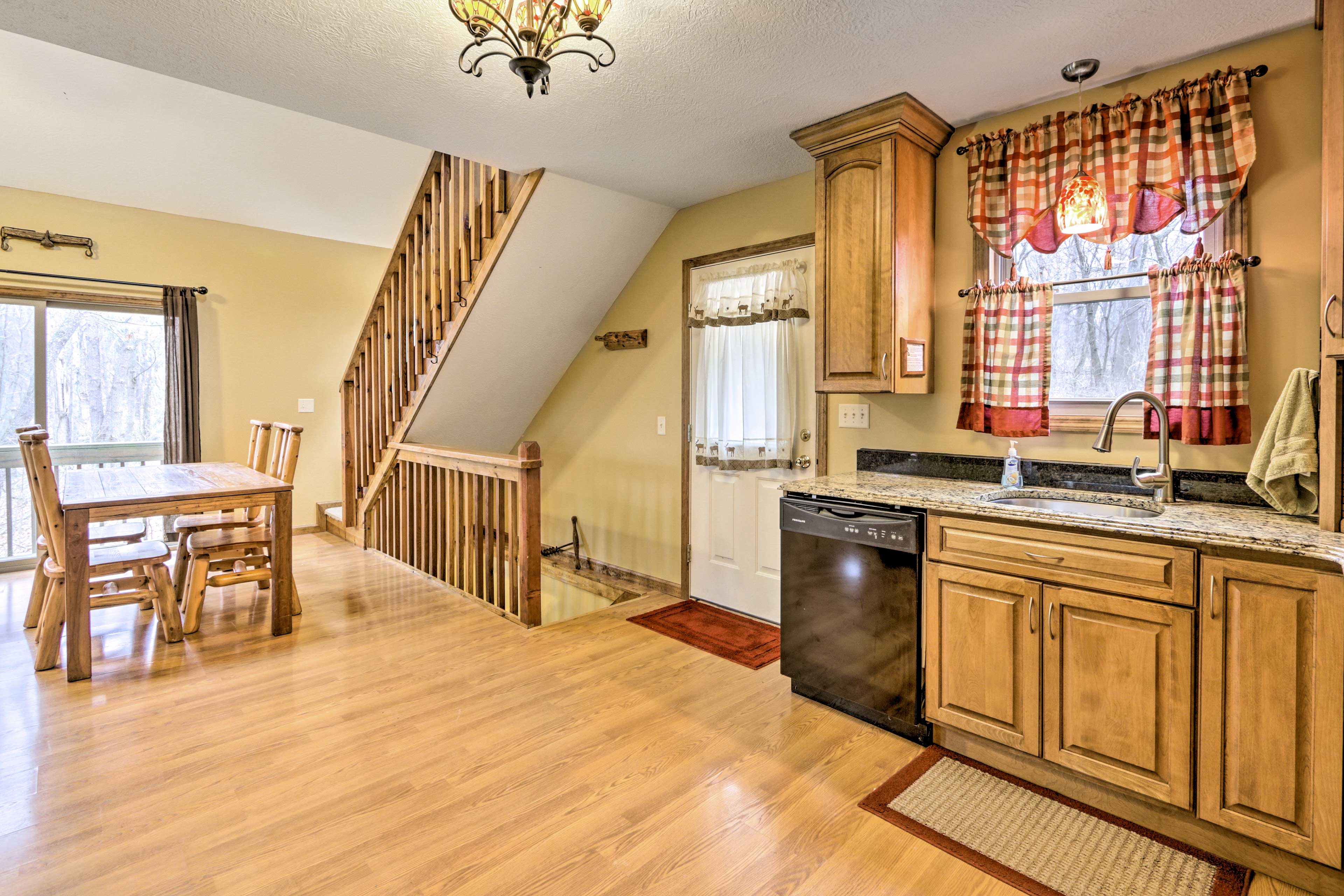 This updated kitchen features granite countertops.