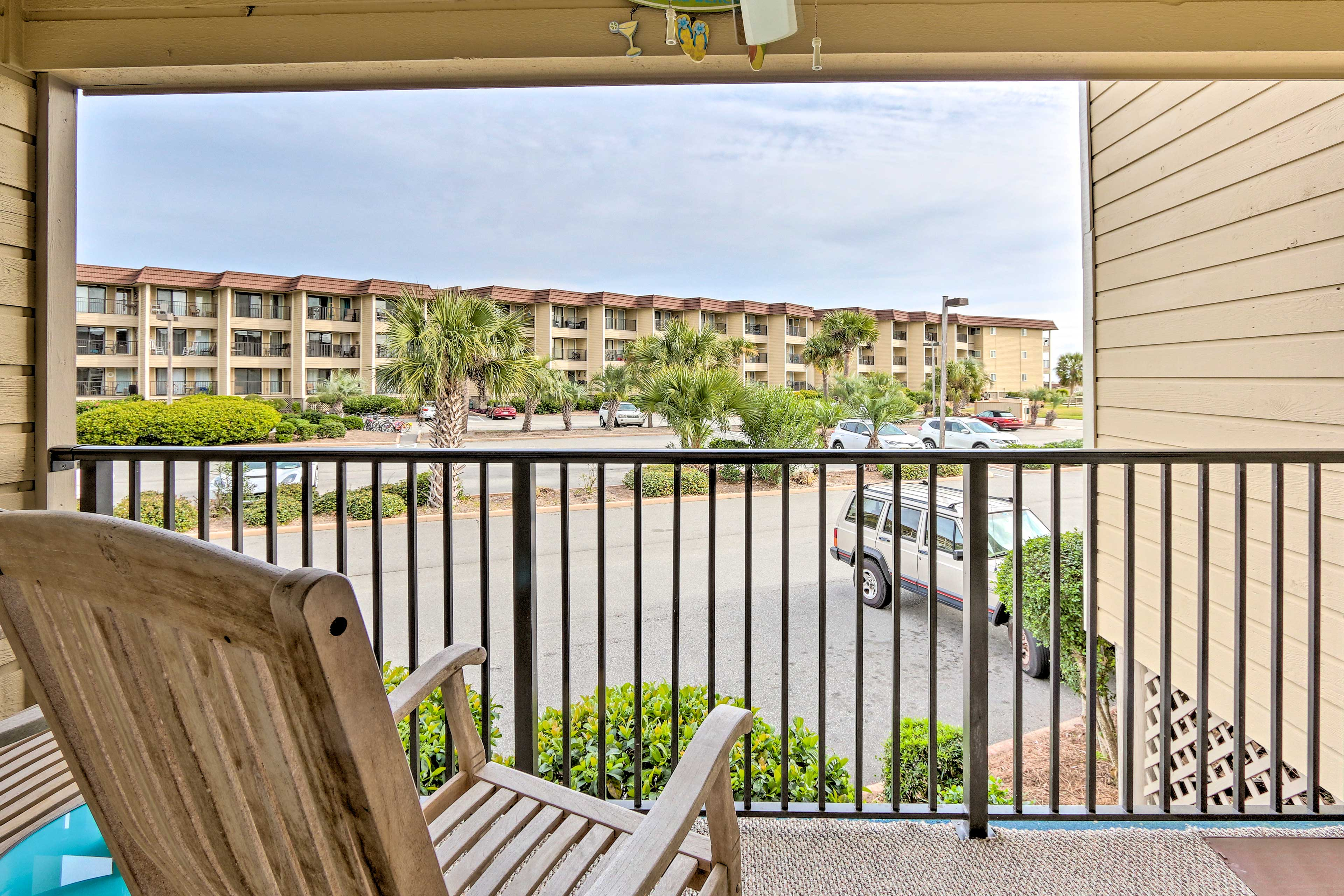 Head out to the deck furnished with rocking chairs.