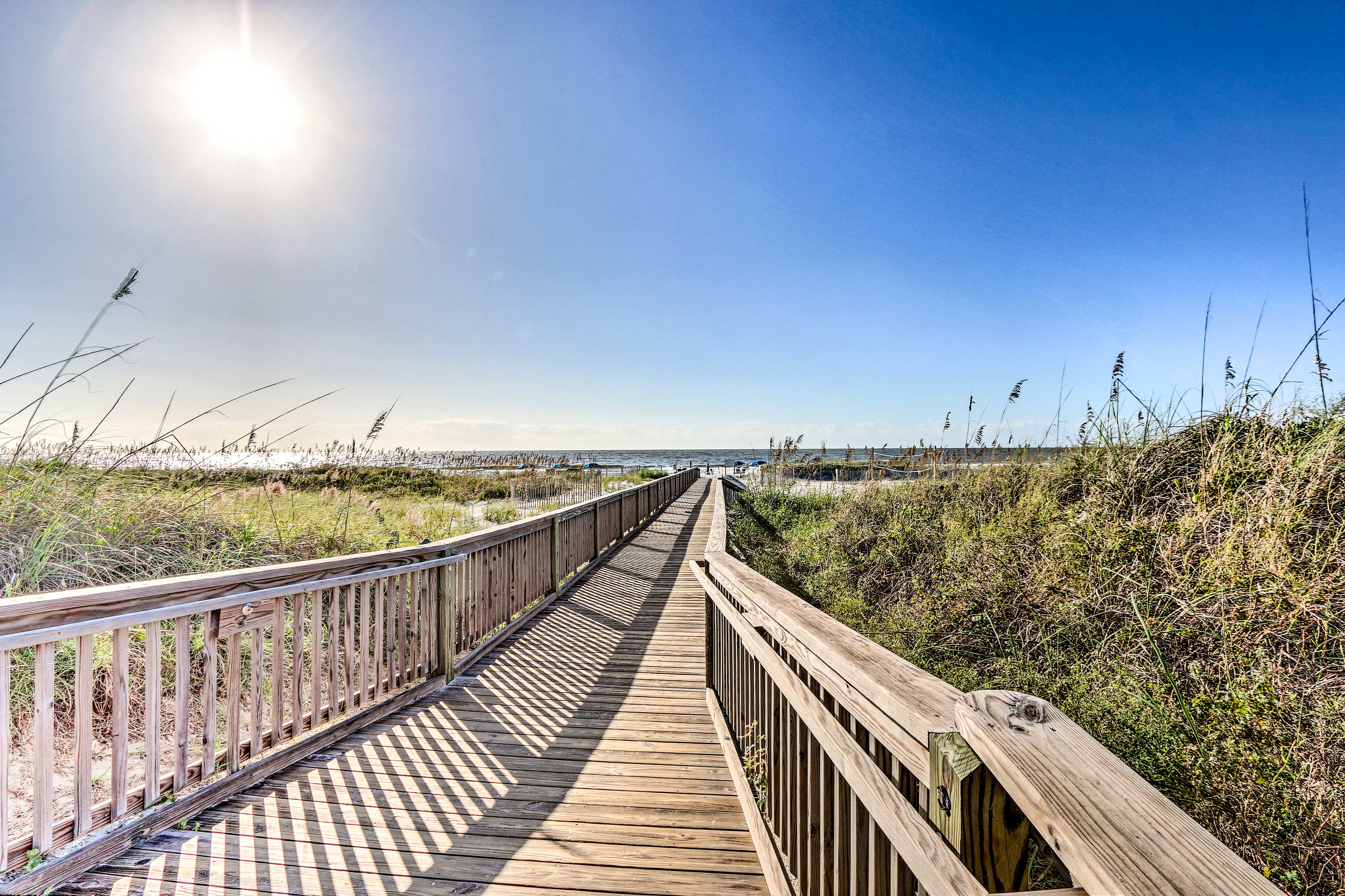 The boardwalk leads directly to the beach.