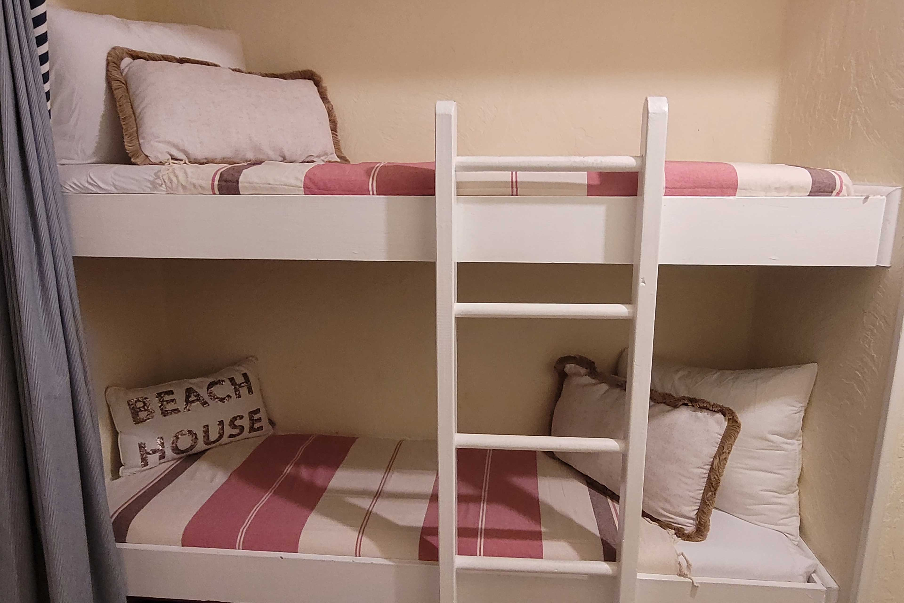 The built-in single beds are perfect for children.