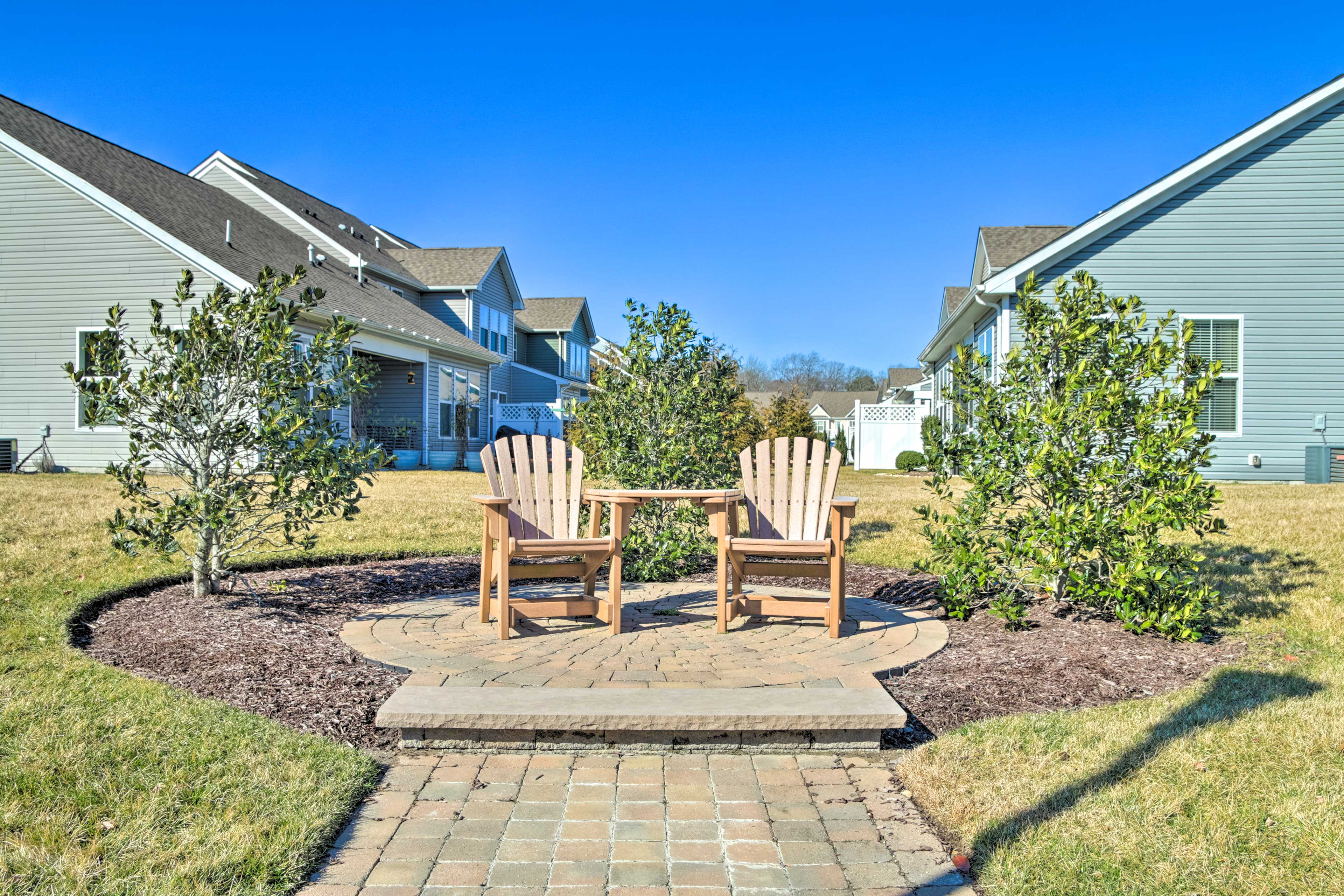Soak up the sun from the Adirondack chairs.