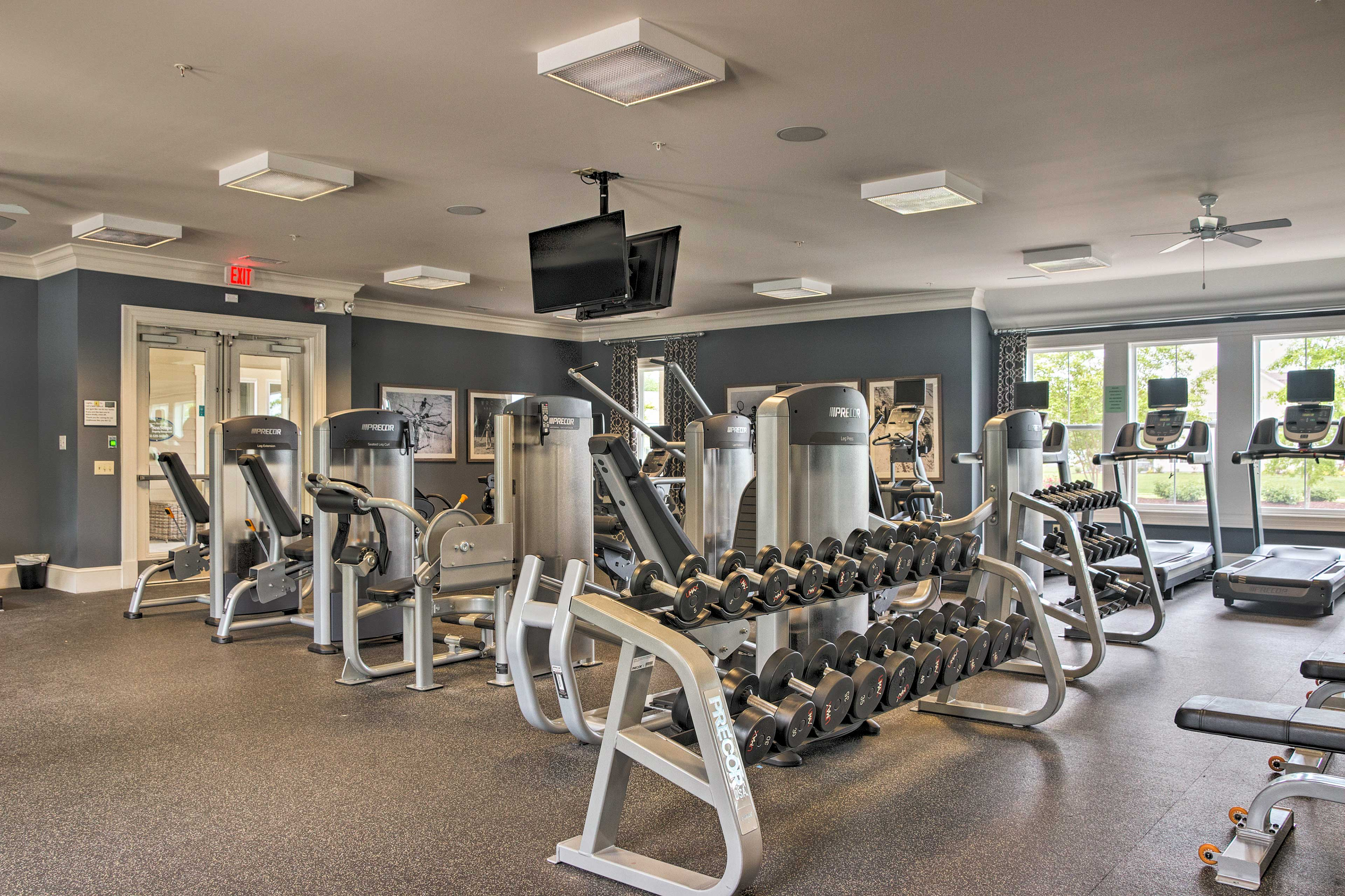 Maintain your gains in the on-site fitness center.