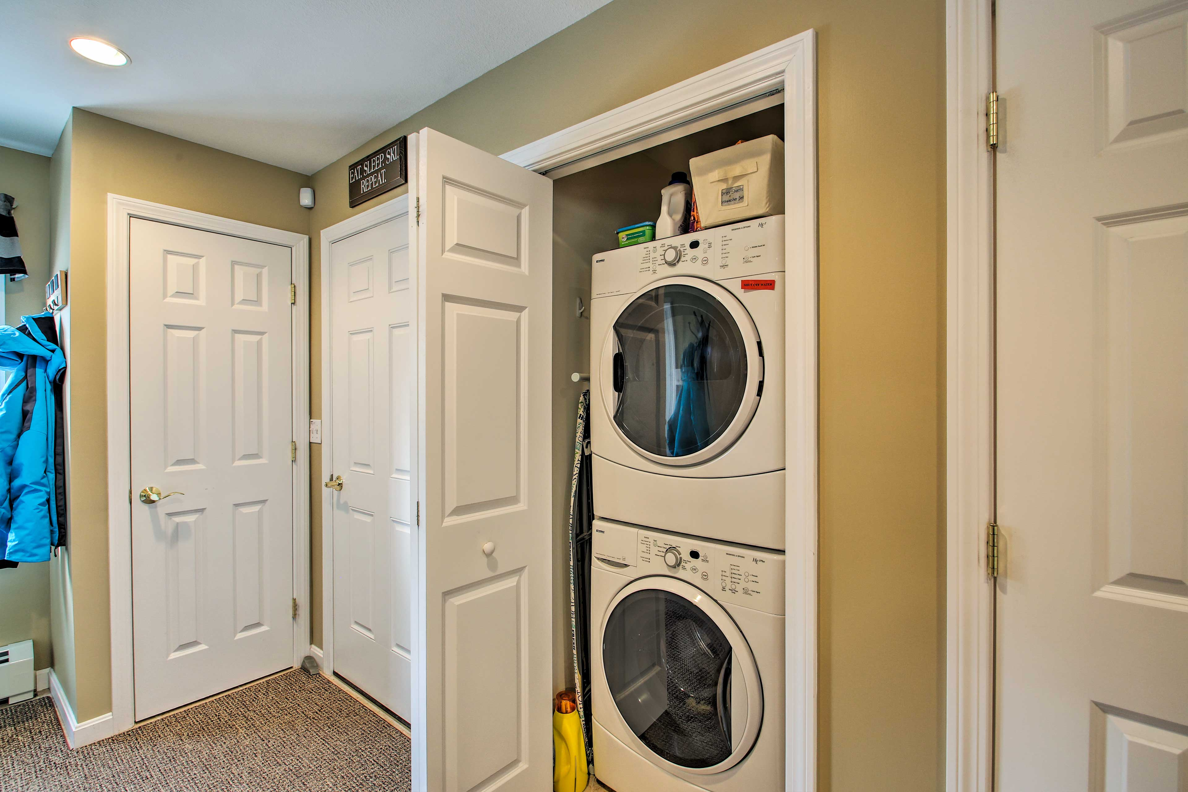 Freshen up your wardrobe with the home's laundry machines.