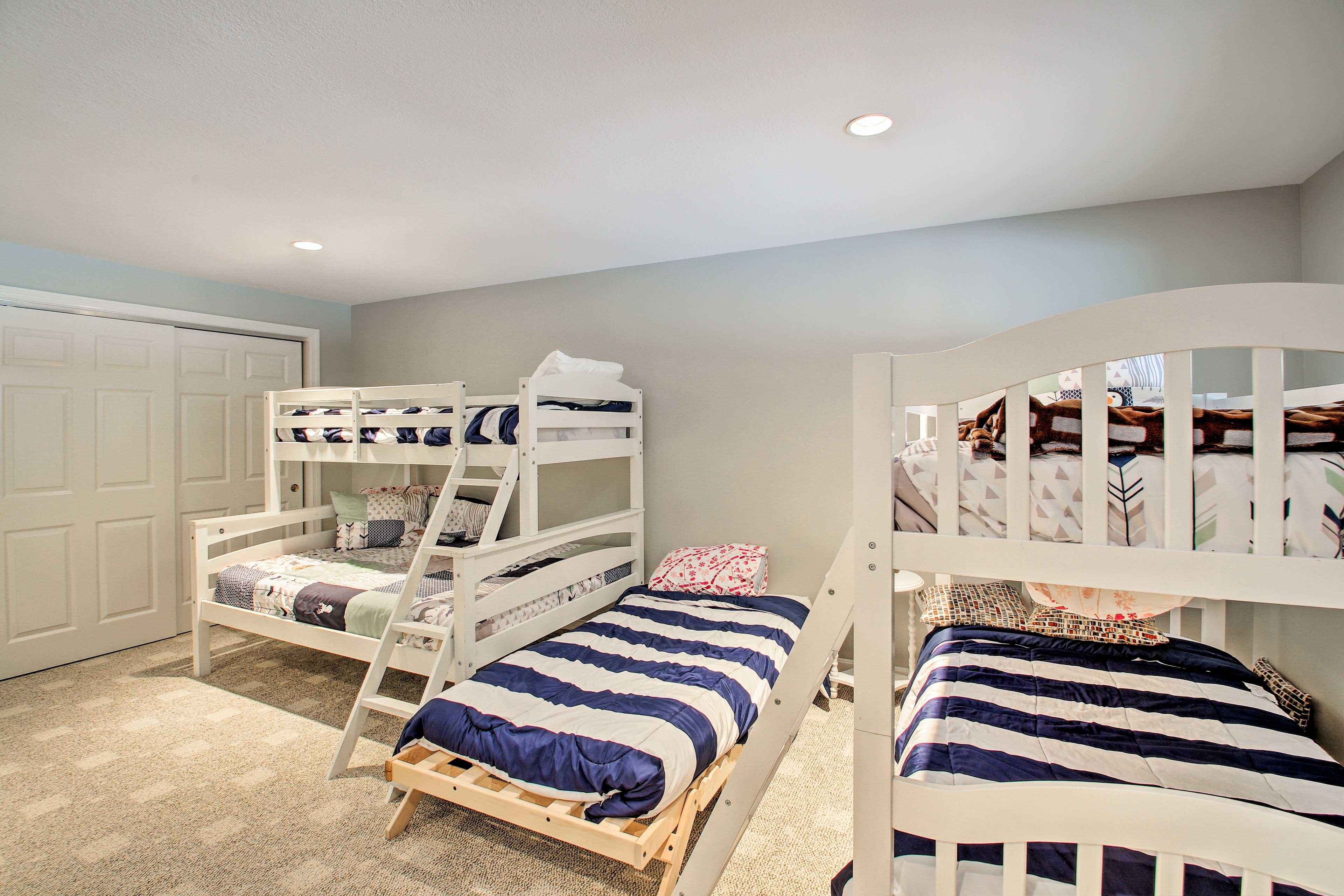 Kids will love slumber parties in the bunk room!