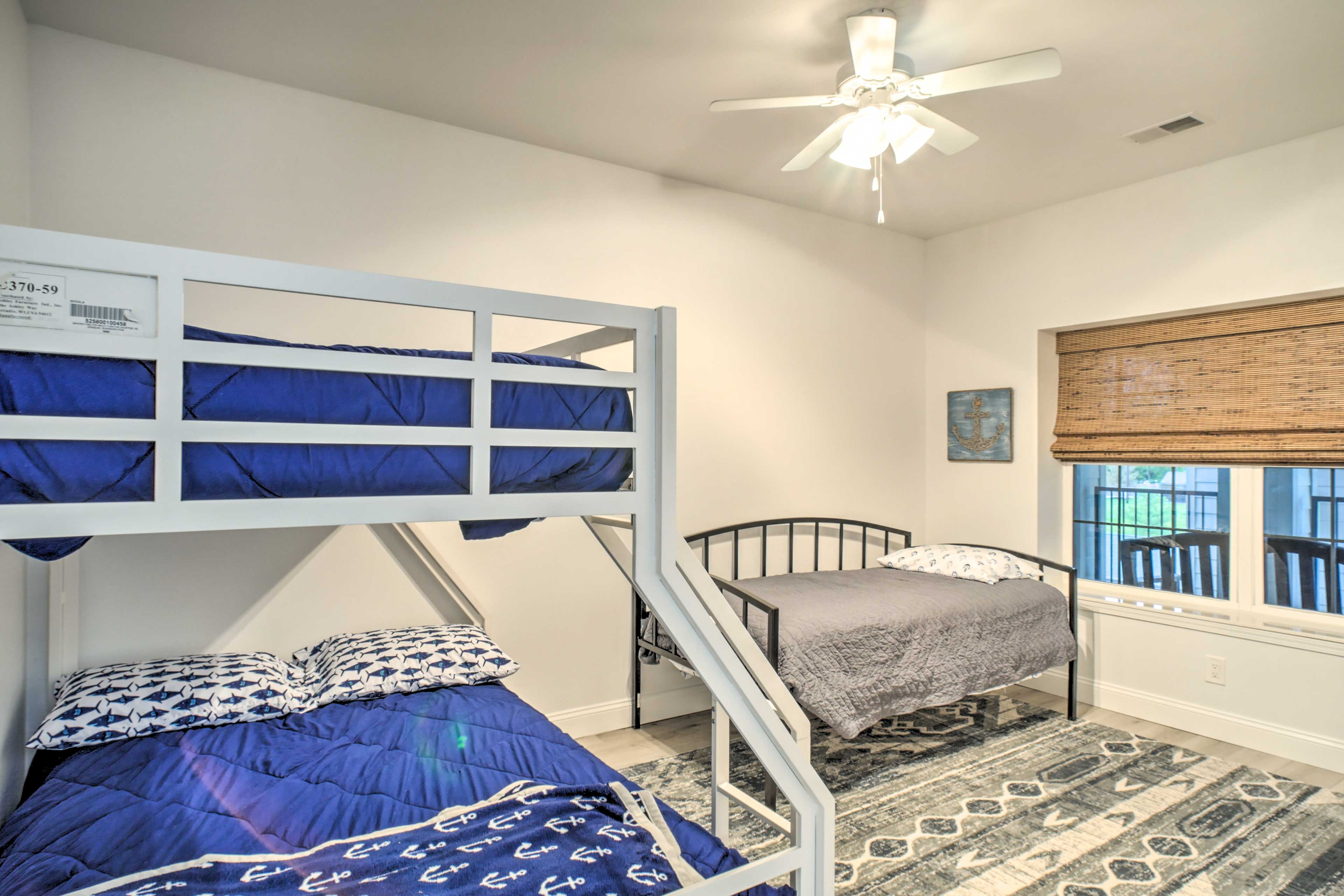 The third bedroom features a twin/full bunk bed and twin bed.