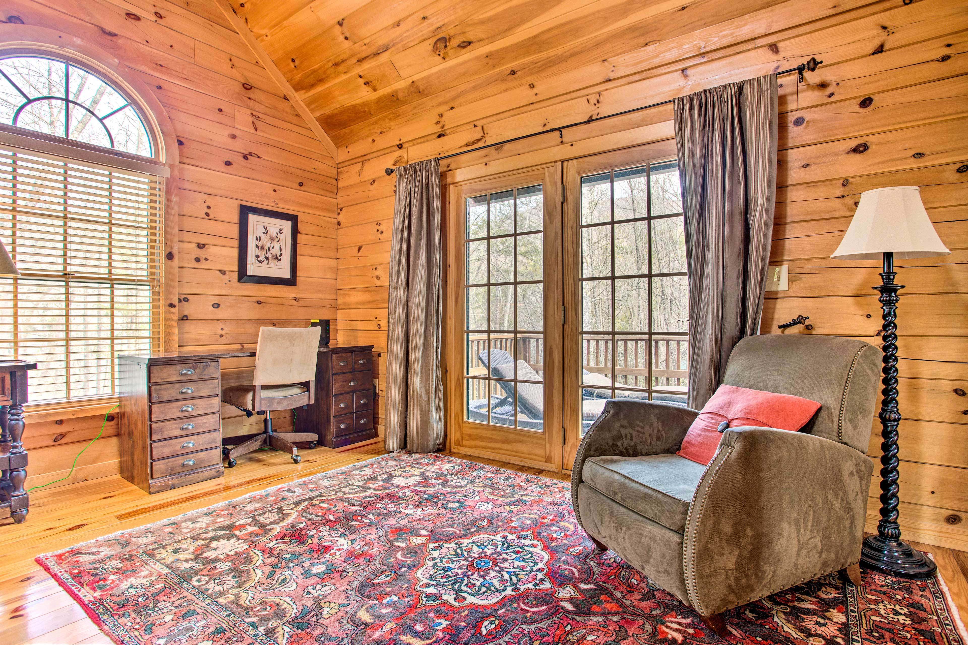 Catch up on some remote work with the cabin's free WiFi.