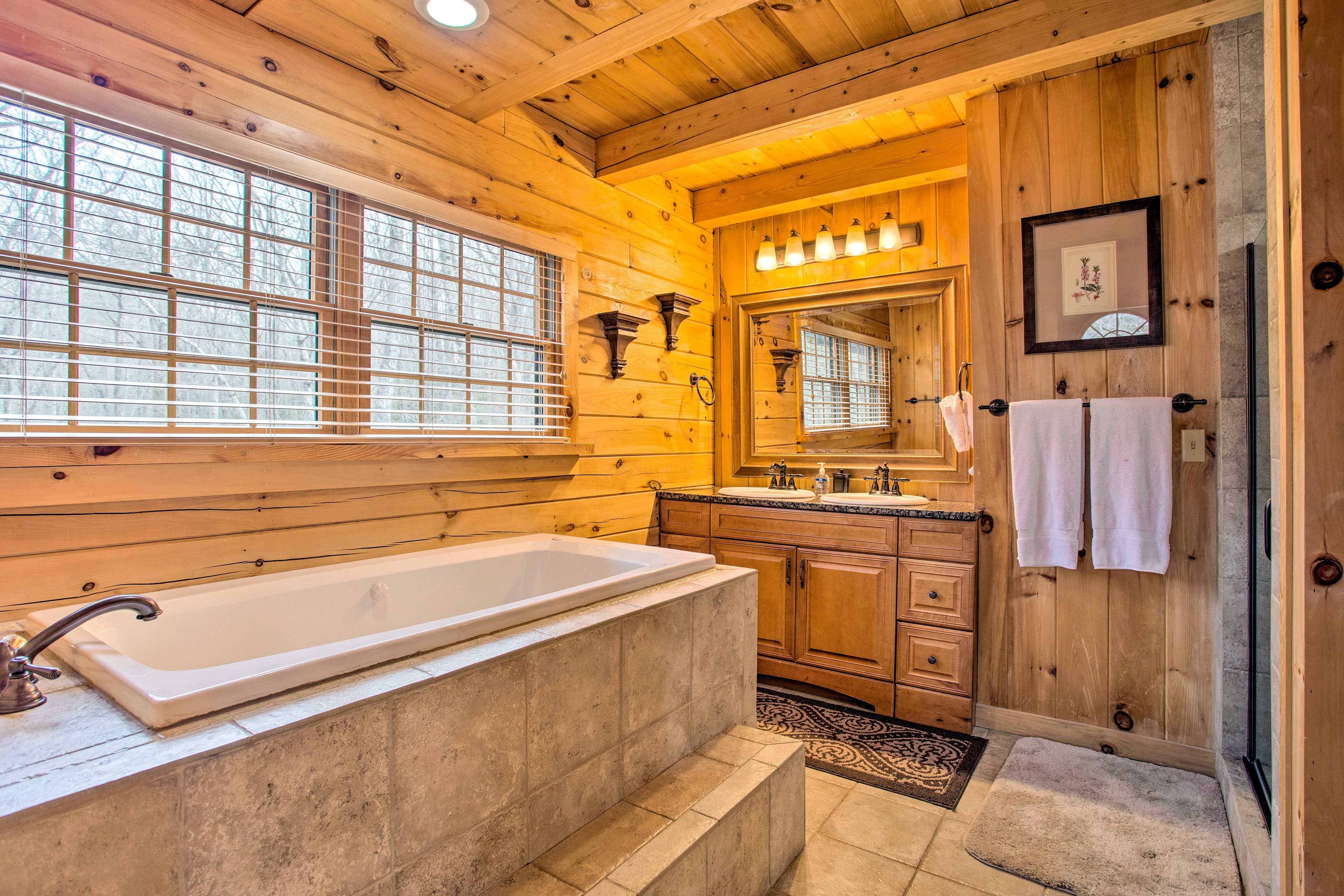Soak in the tub after a busy day on the lake.