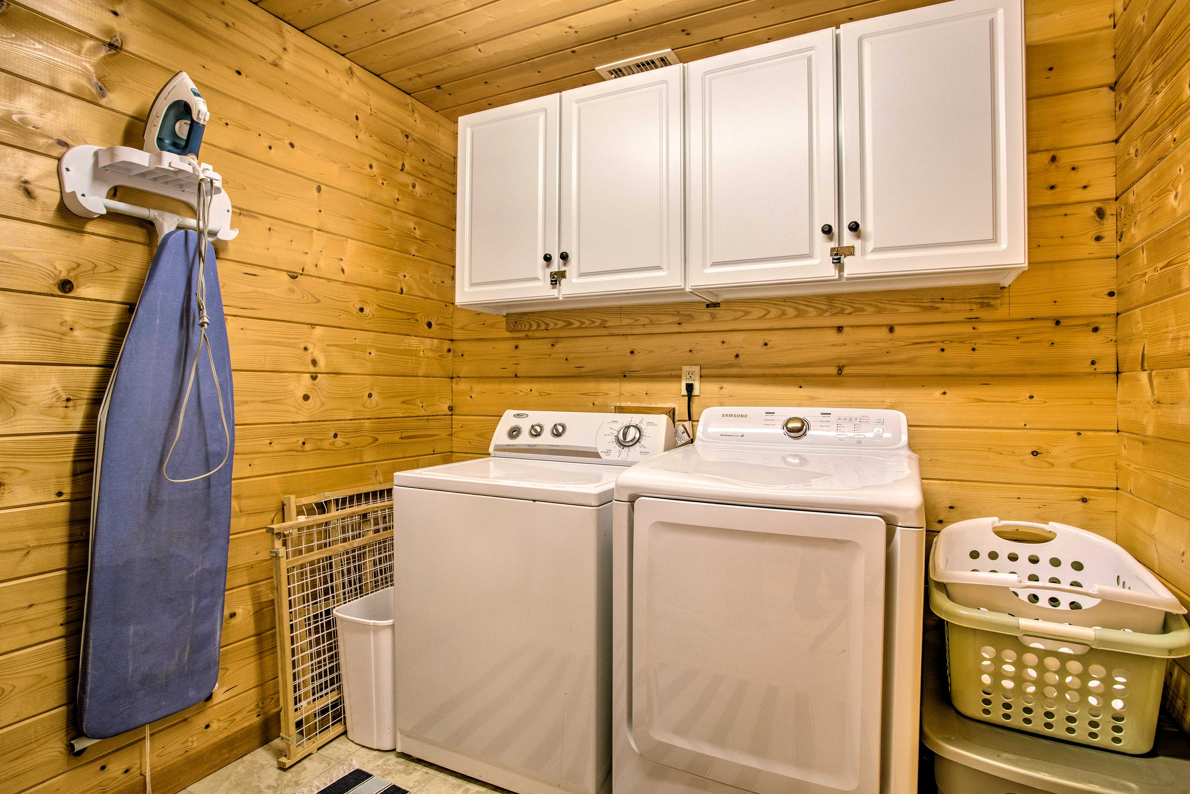 Keep your wardrobe fresh with the vacation rental's laundry machines.