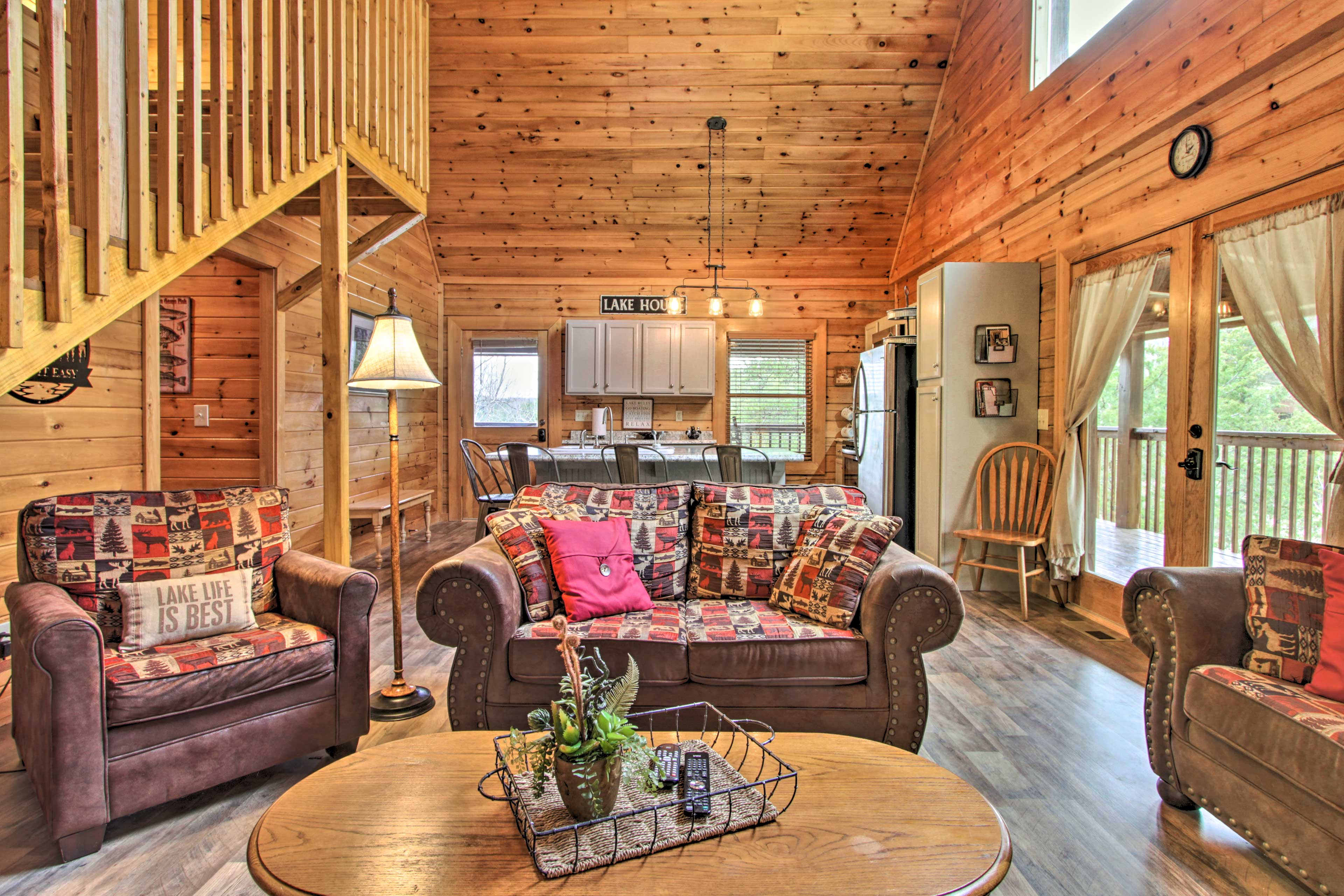 This cabin features tall ceilings and an open layout.