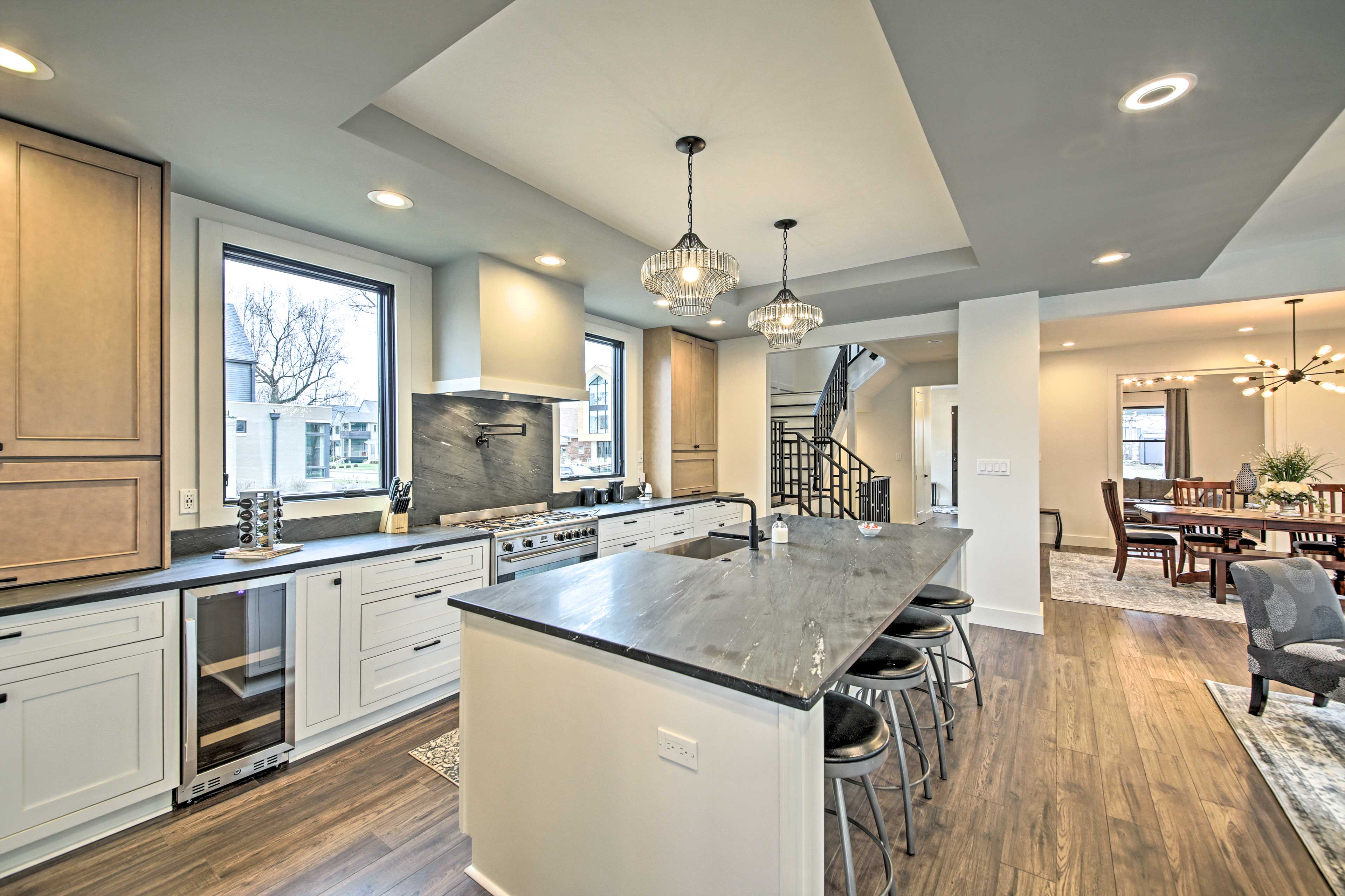 Pull out a bar stool and get ready to eat breakfast at the kitchen island.
