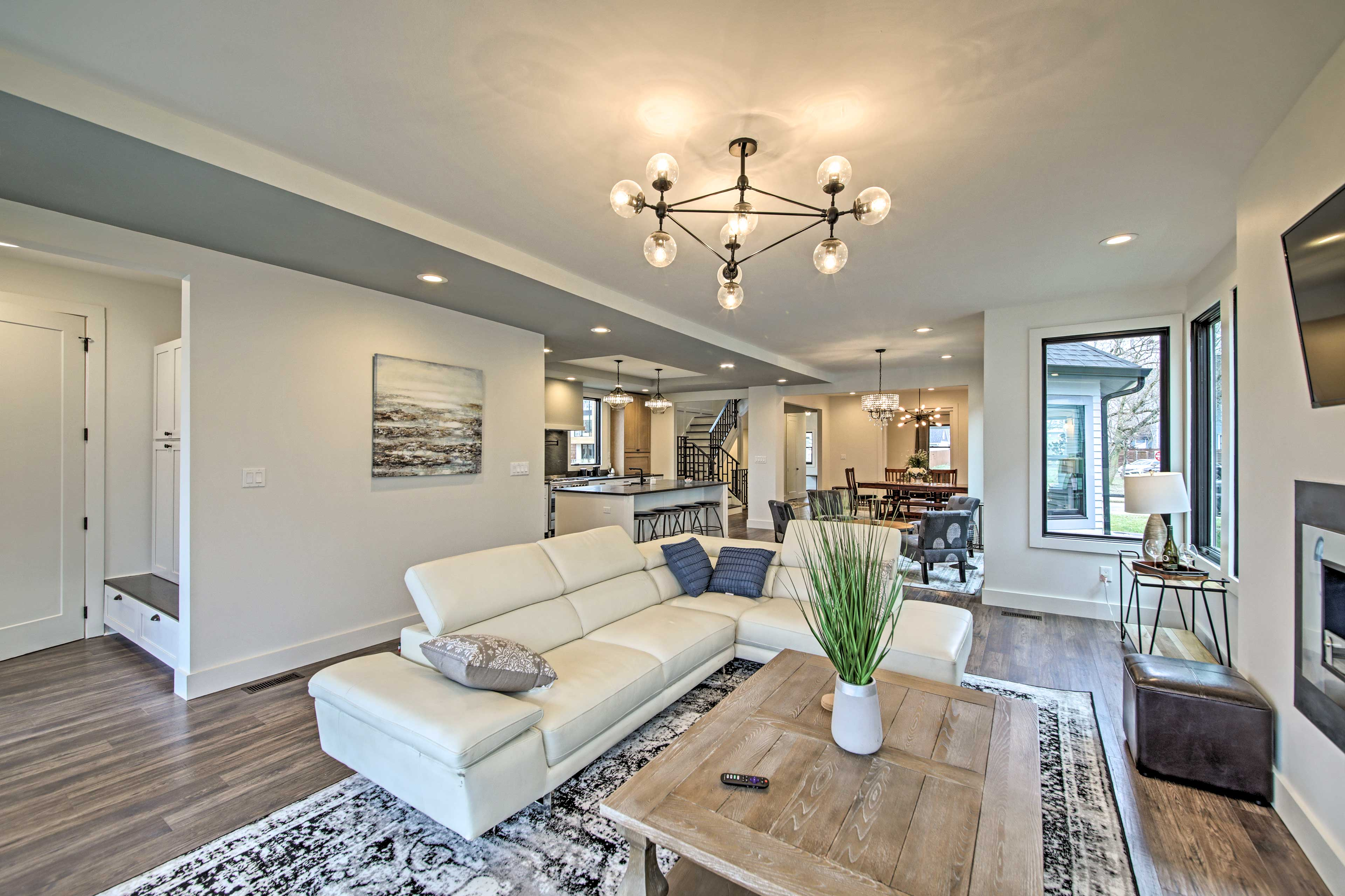 This grand Indianapolis home boasts a luxurious living space.