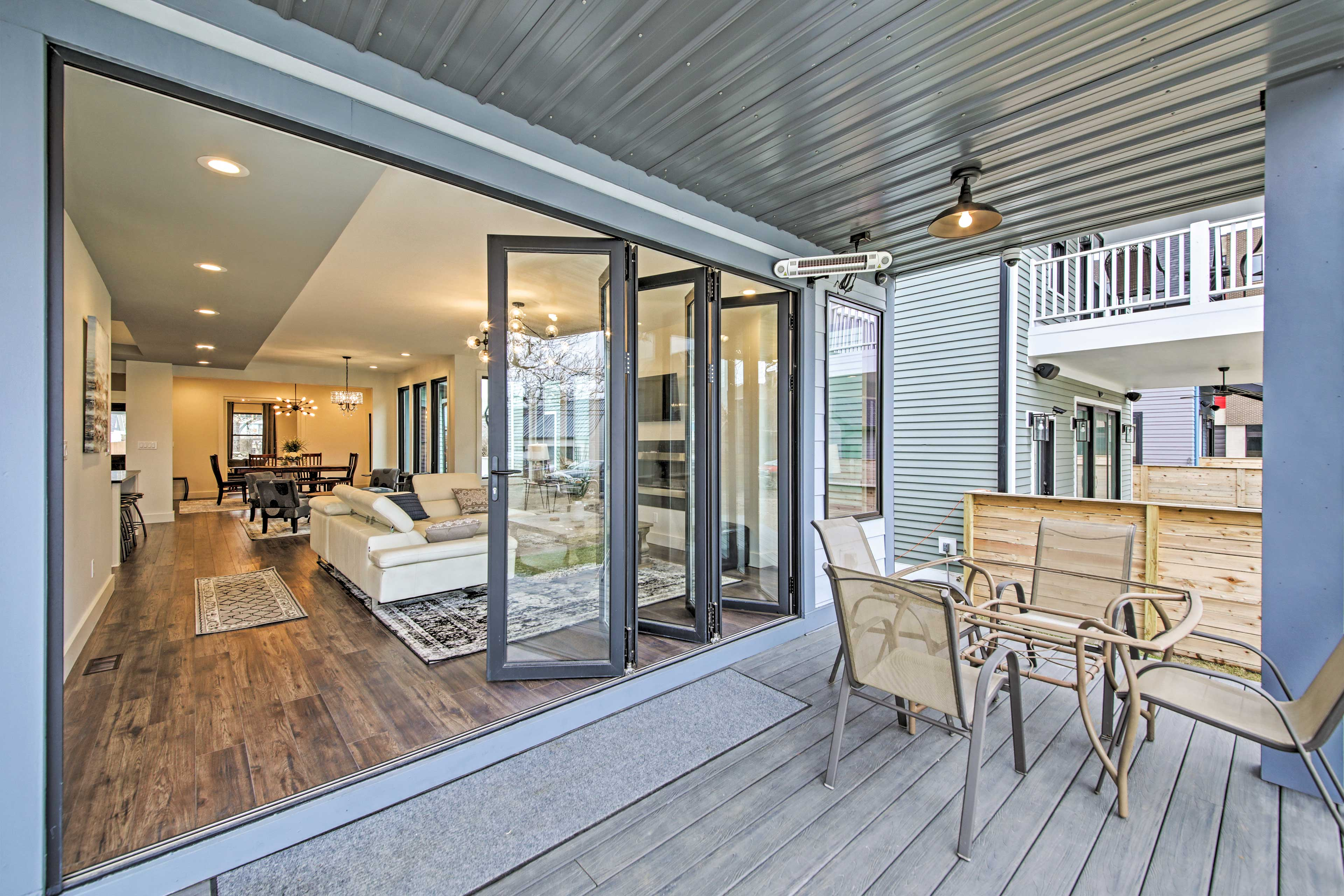 Open the accordion doors to connect indoor and outdoor living.