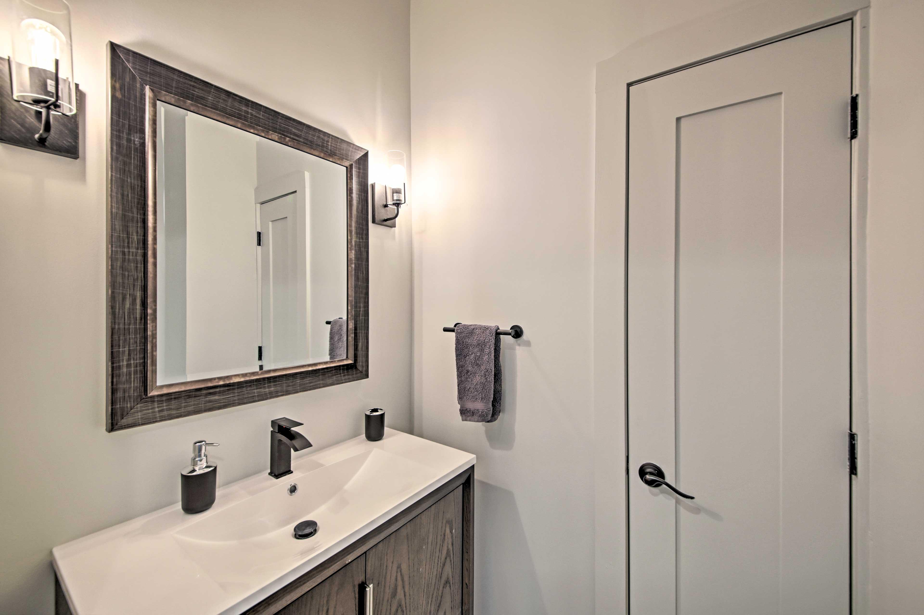 A half-bath is a convenient place to freshen up.