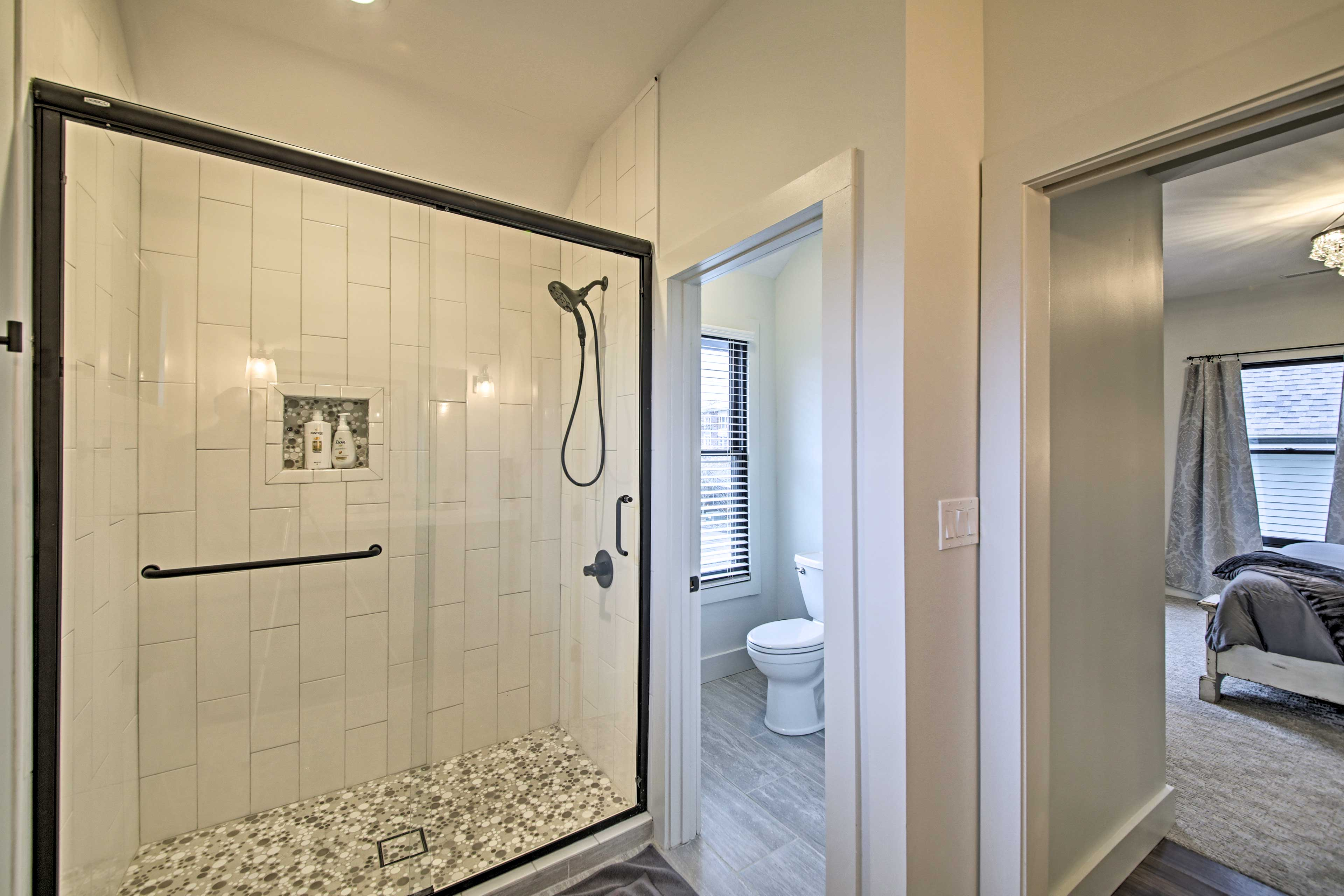 Rinse off in this tile shower.