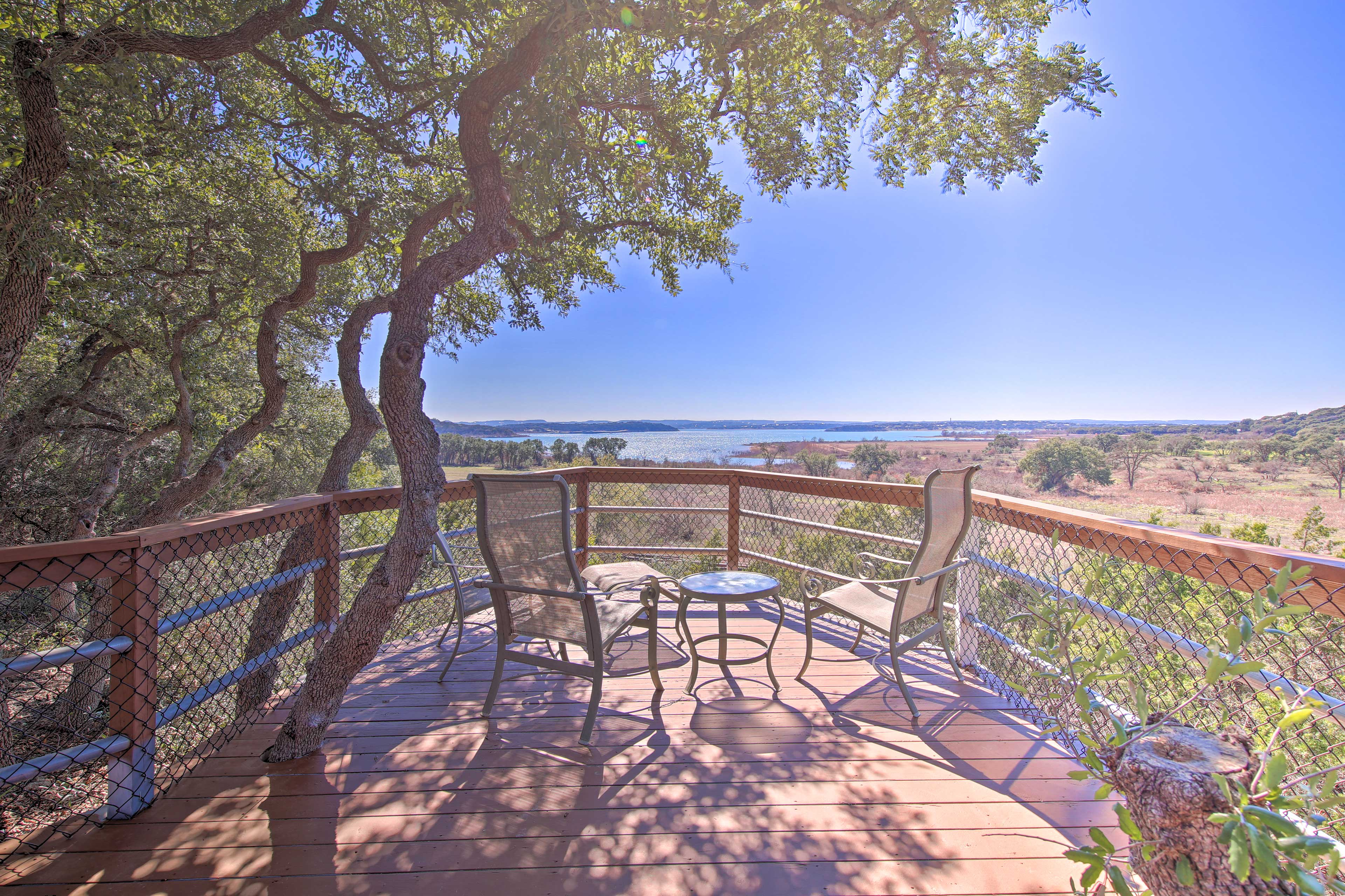 Watch the sunset from the spacious deck.