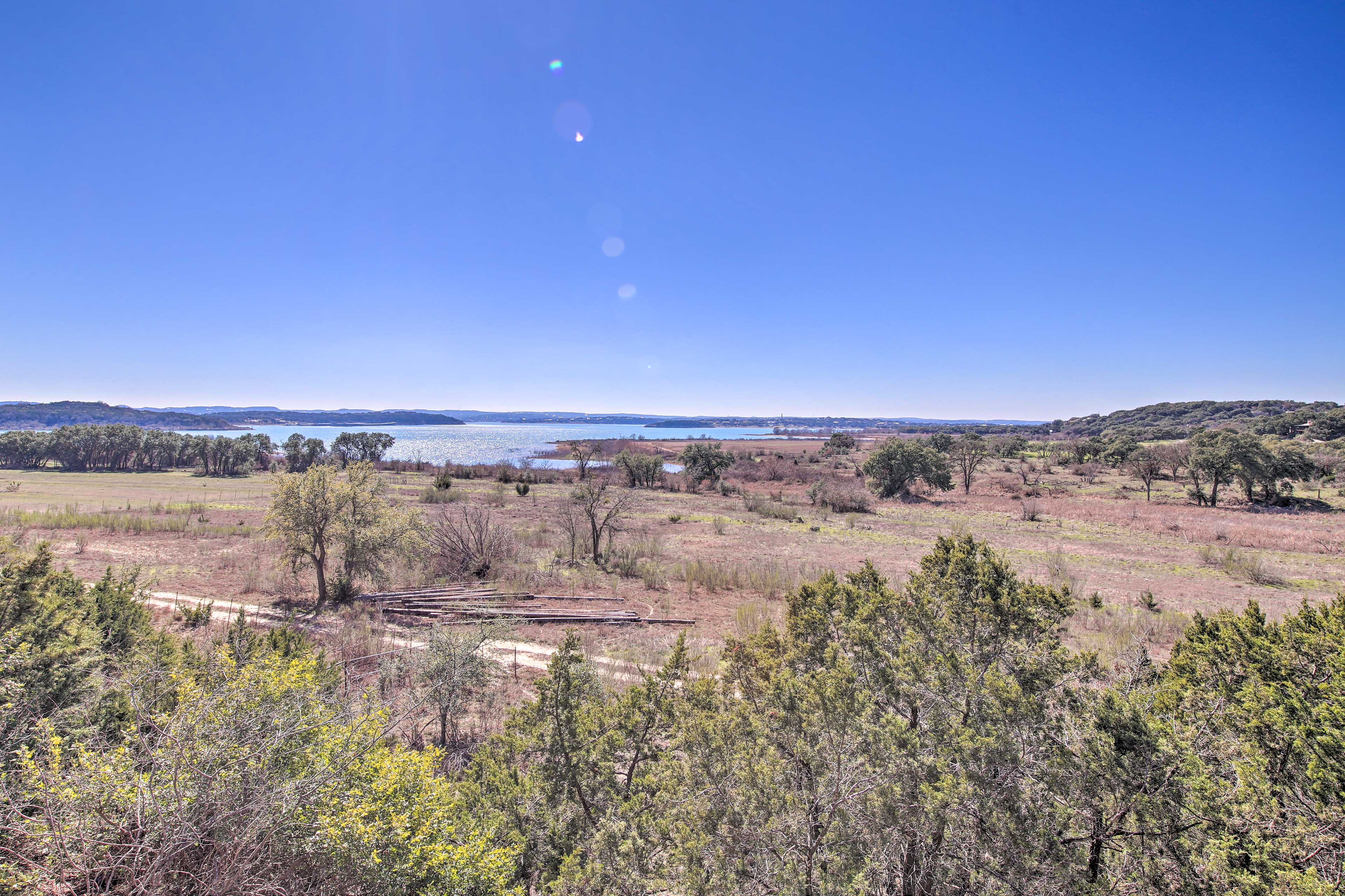 The property boasts panoramic views of the lake.