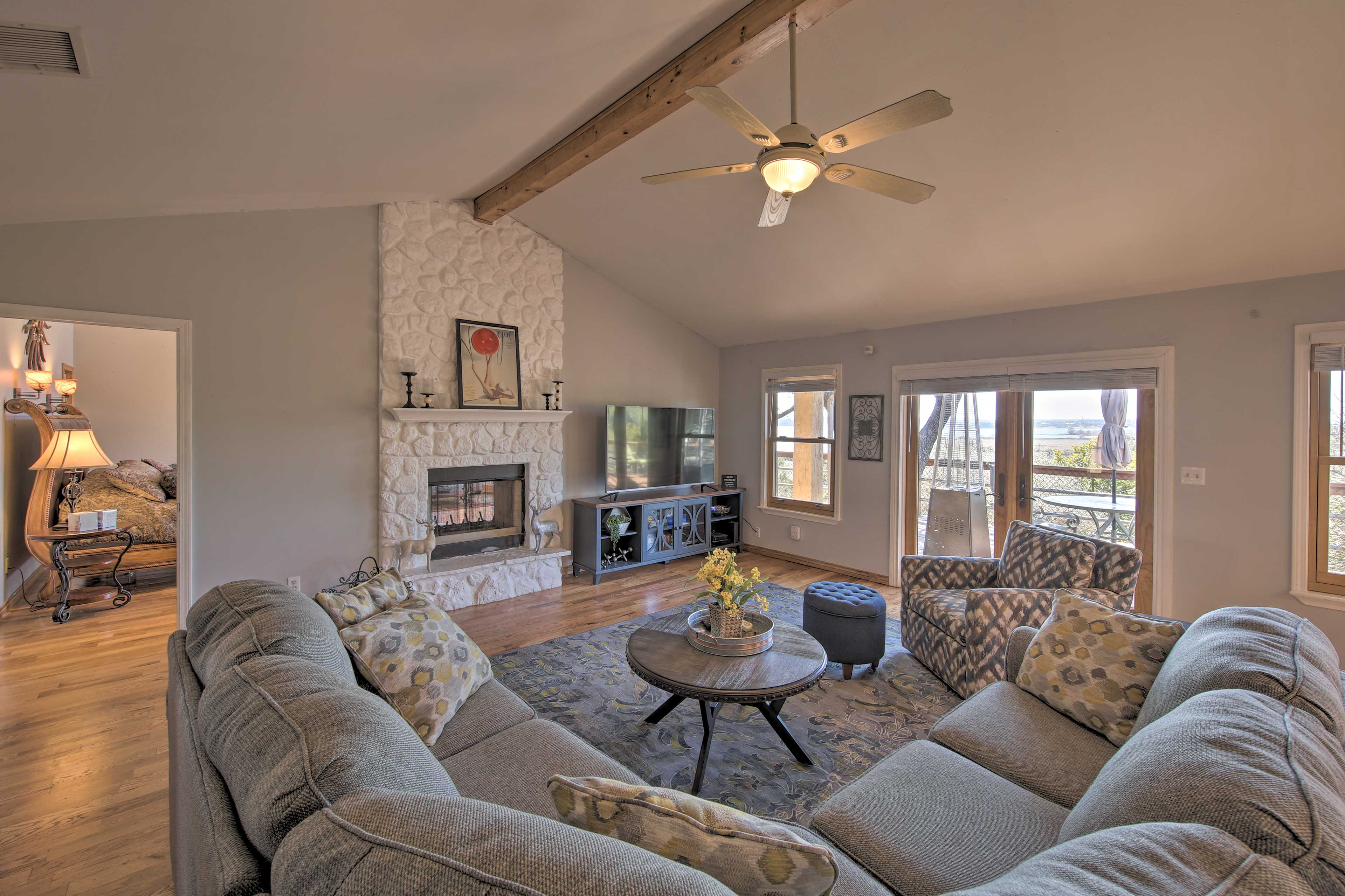 Gather with family and friends in the living room.