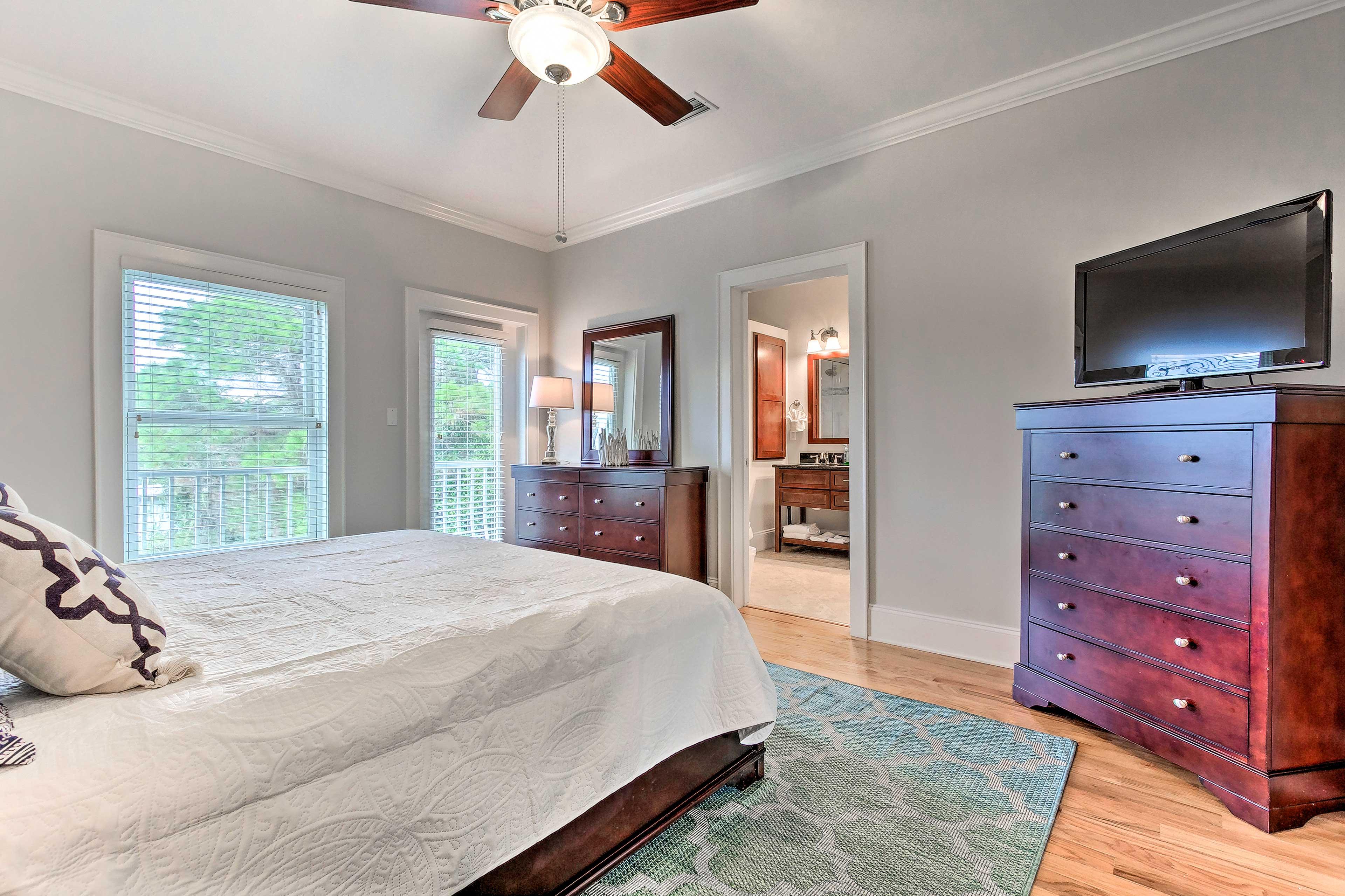This comfortable bedroom offers a Smart TV & en-suite bath.