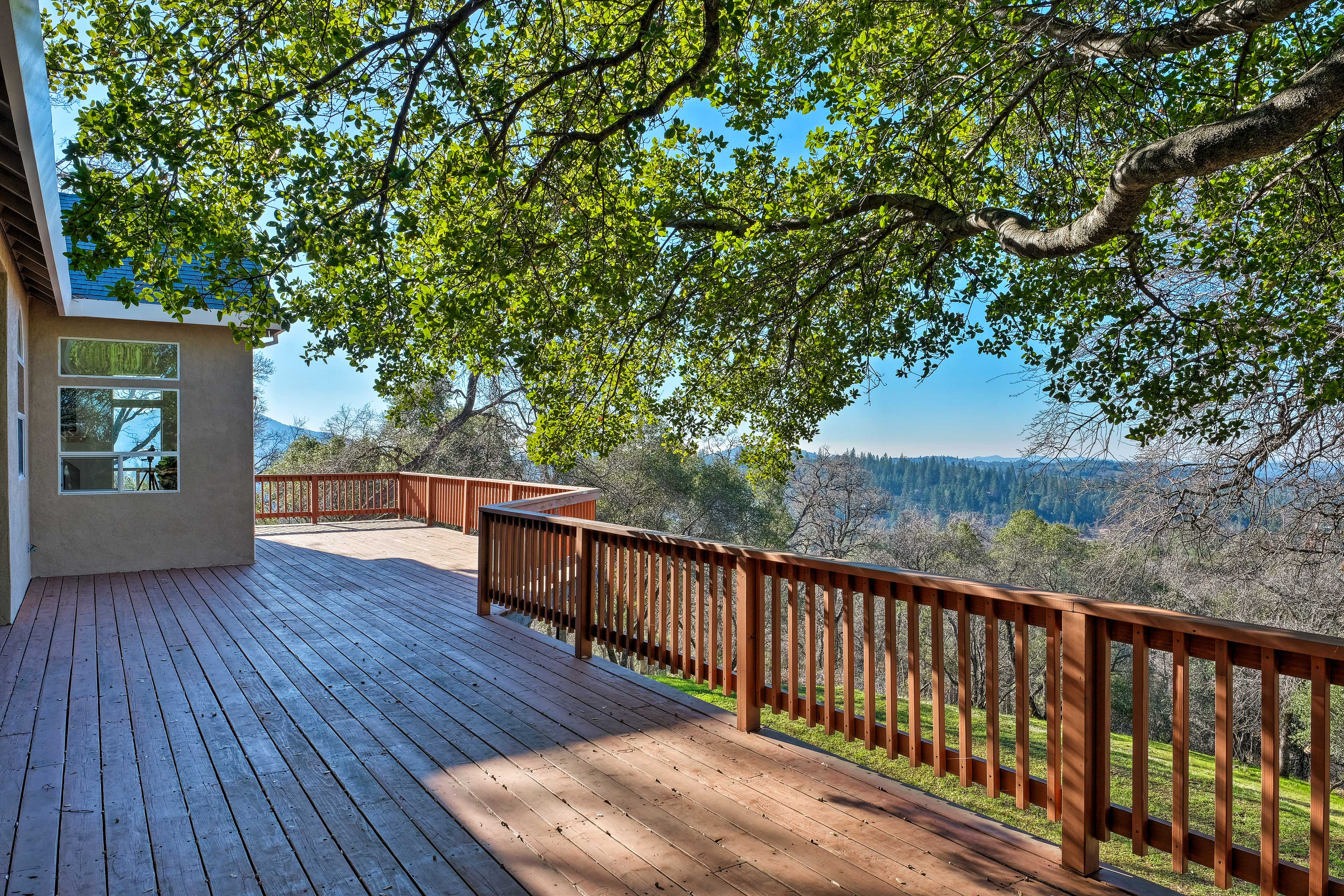Admire scenic sunsets from the wraparound deck.