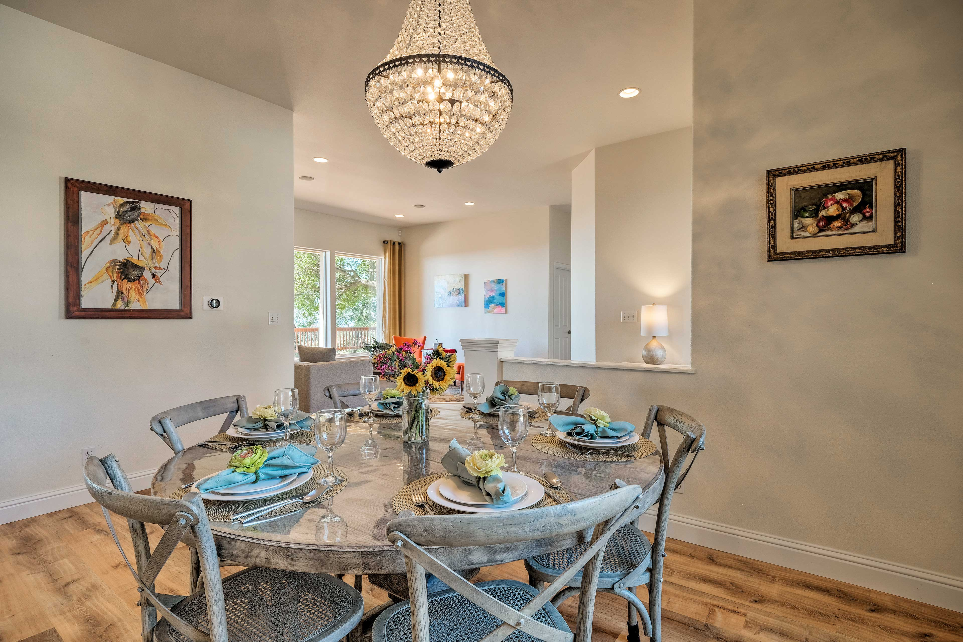 Gather around the rustic formal dining table and dig in.