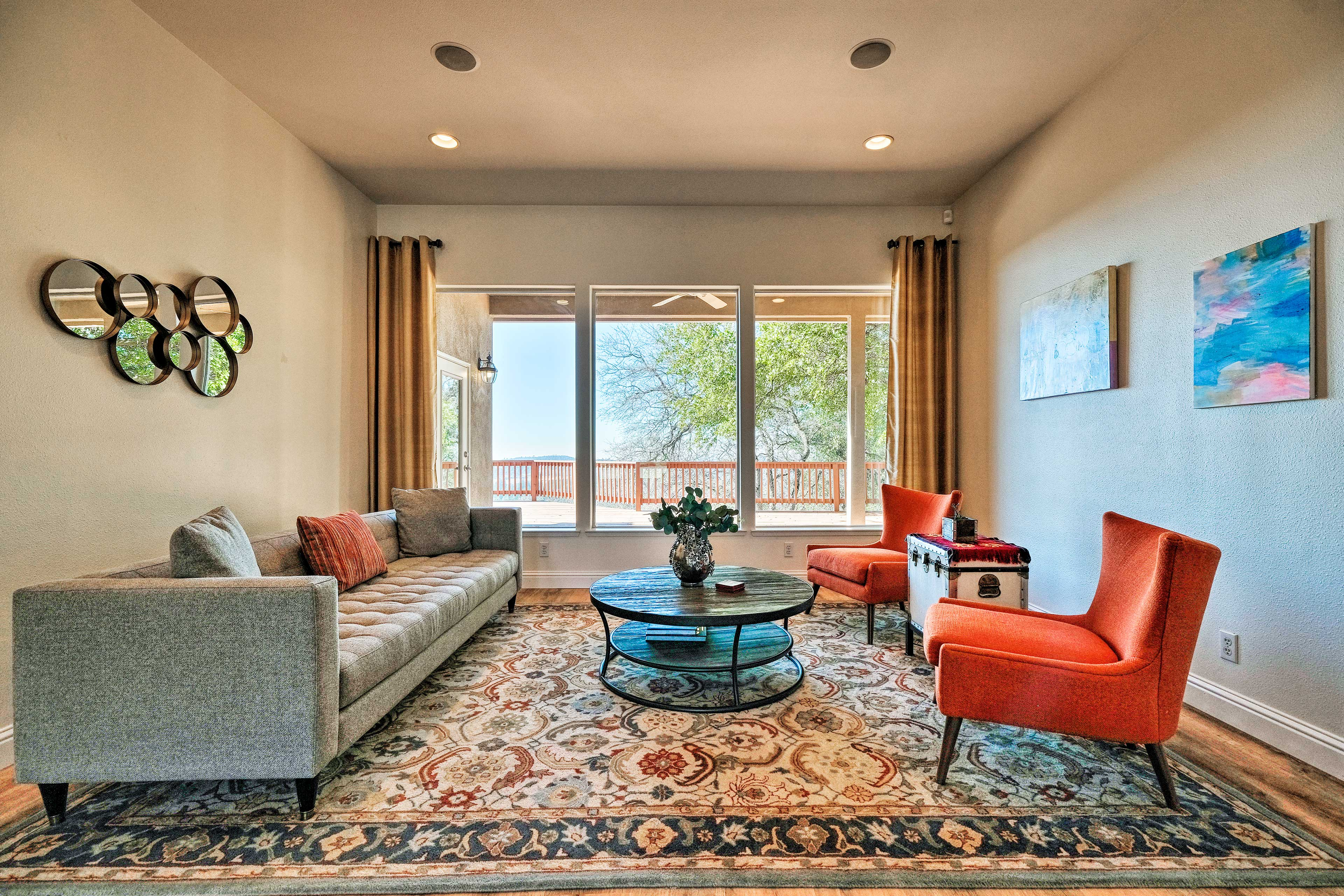 The stylish vacation rental is complete with all the comforts of home.