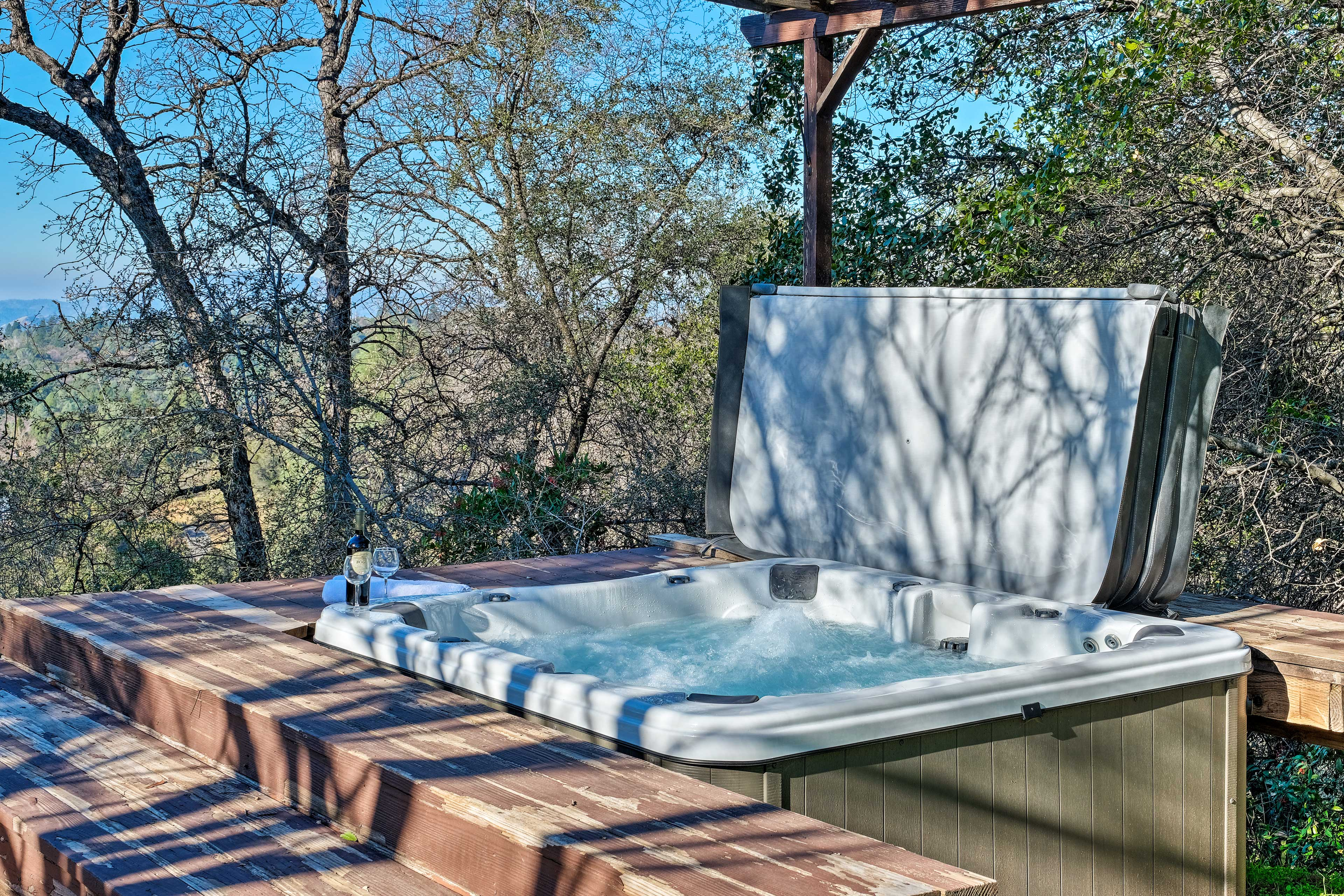 Soak sore hiking muscles in the home's private hot tub.