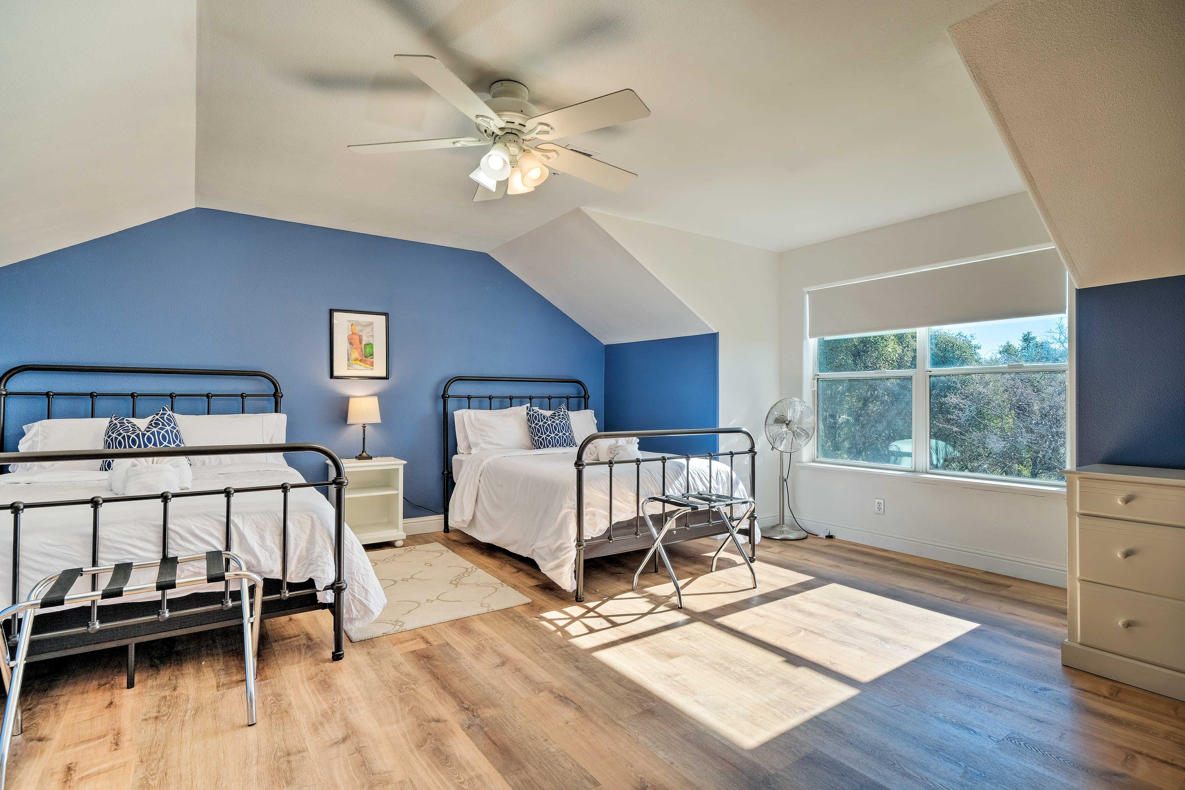 2 full beds sleep up to four guests.
