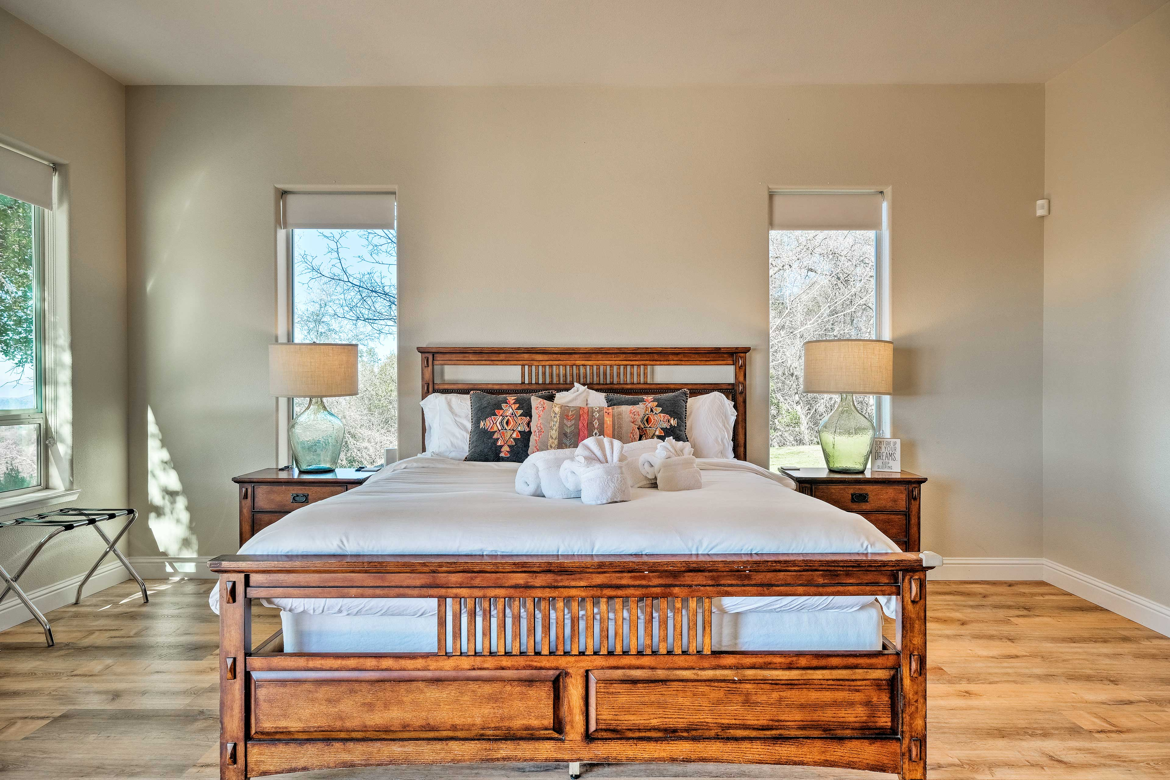 Claim the master bedroom as your own.