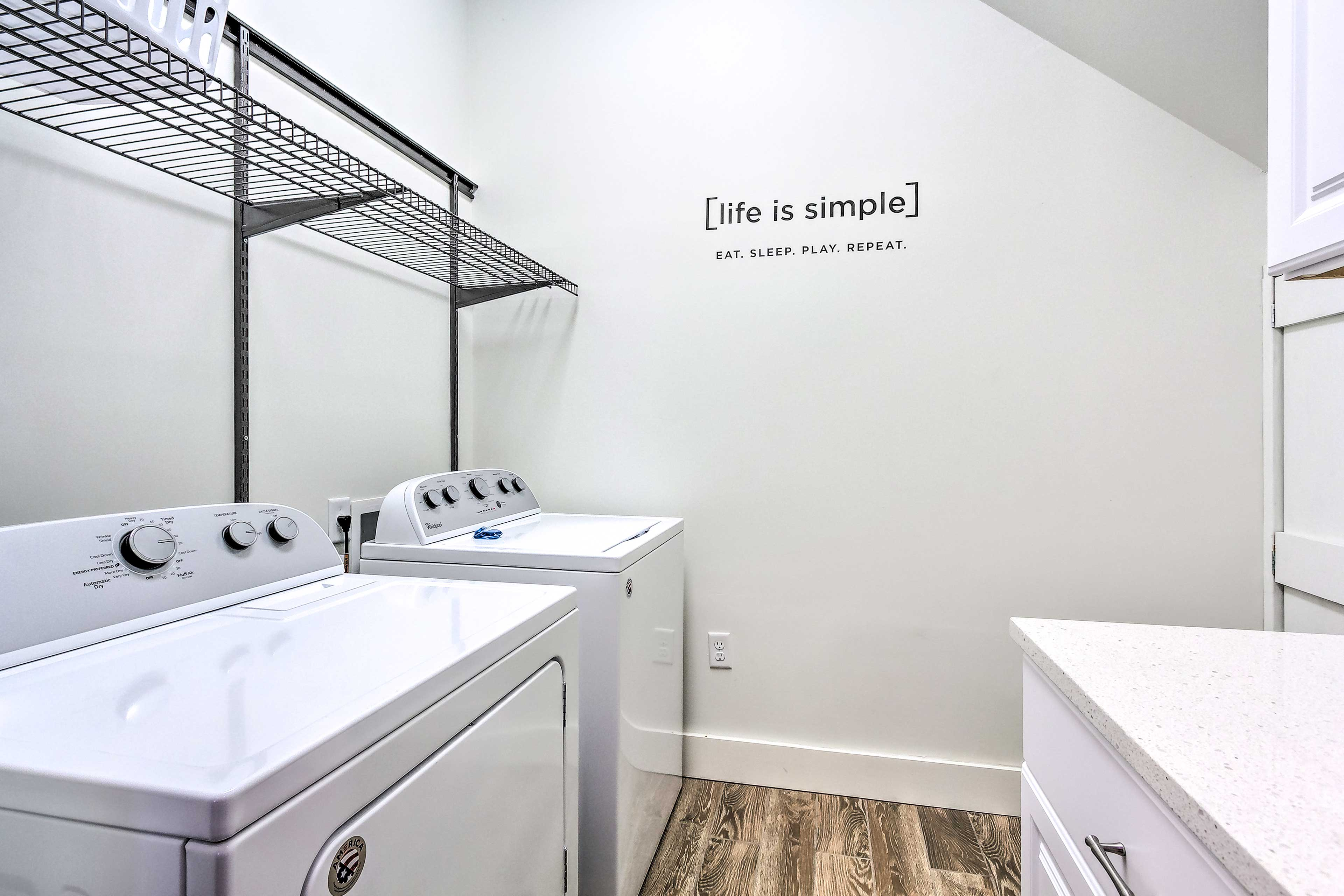 The home helps you keep up with life's simple tasks, like laundry!