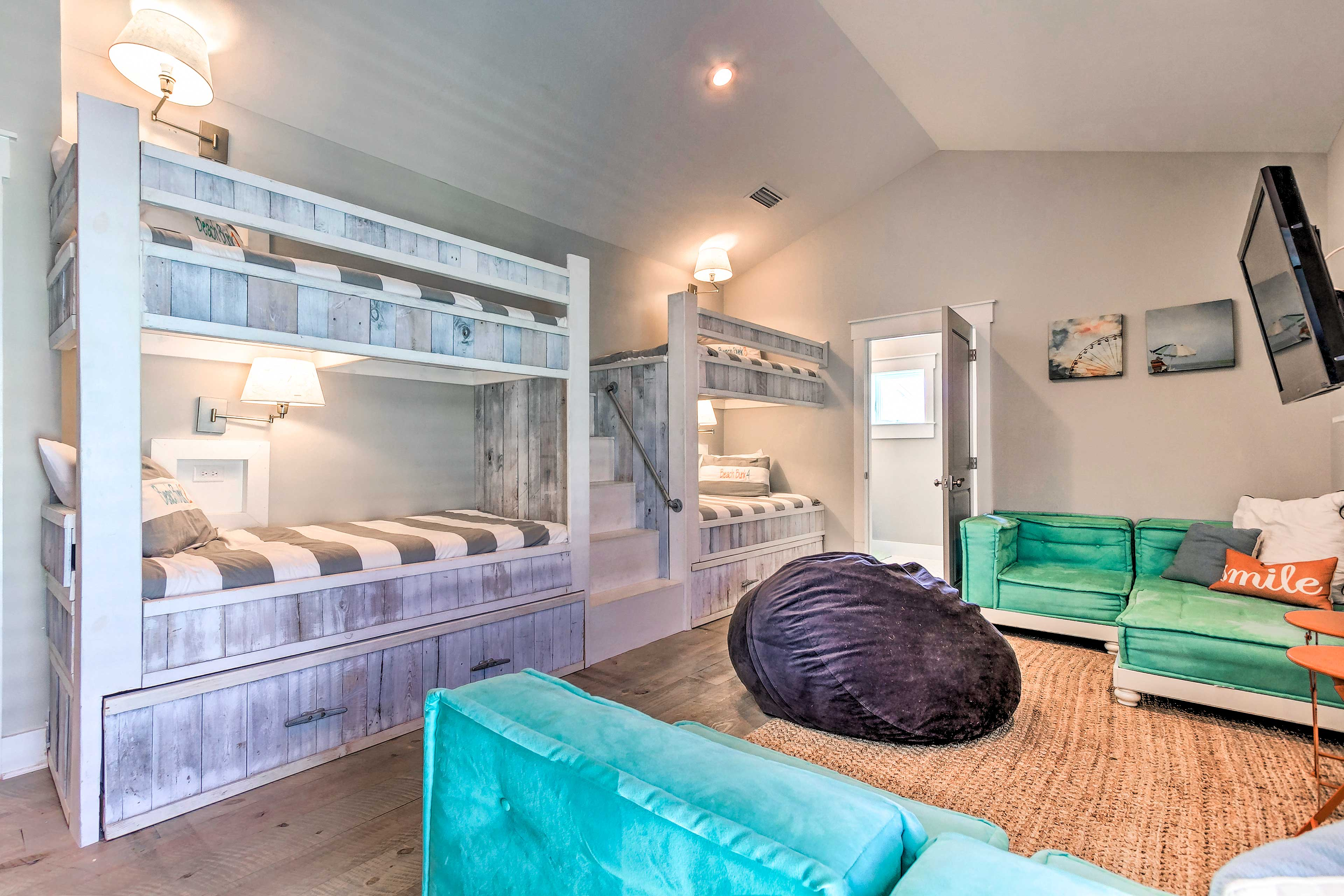 Kids will love claiming these double bunk beds (+ trundle beds) as their own!