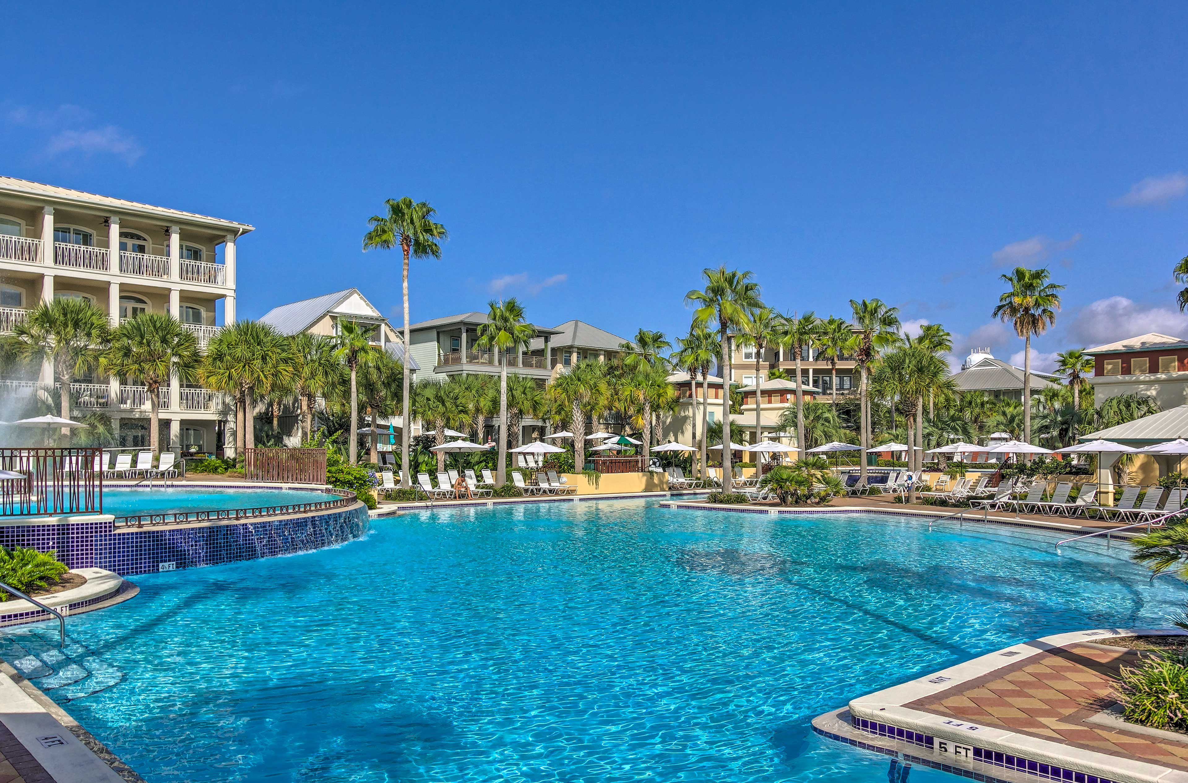 Lofty palm trees set the scene for your poolside escape.